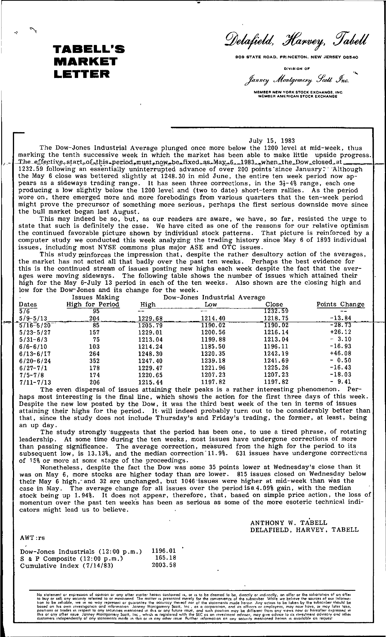 Tabell's Market Letter - July 15, 1983