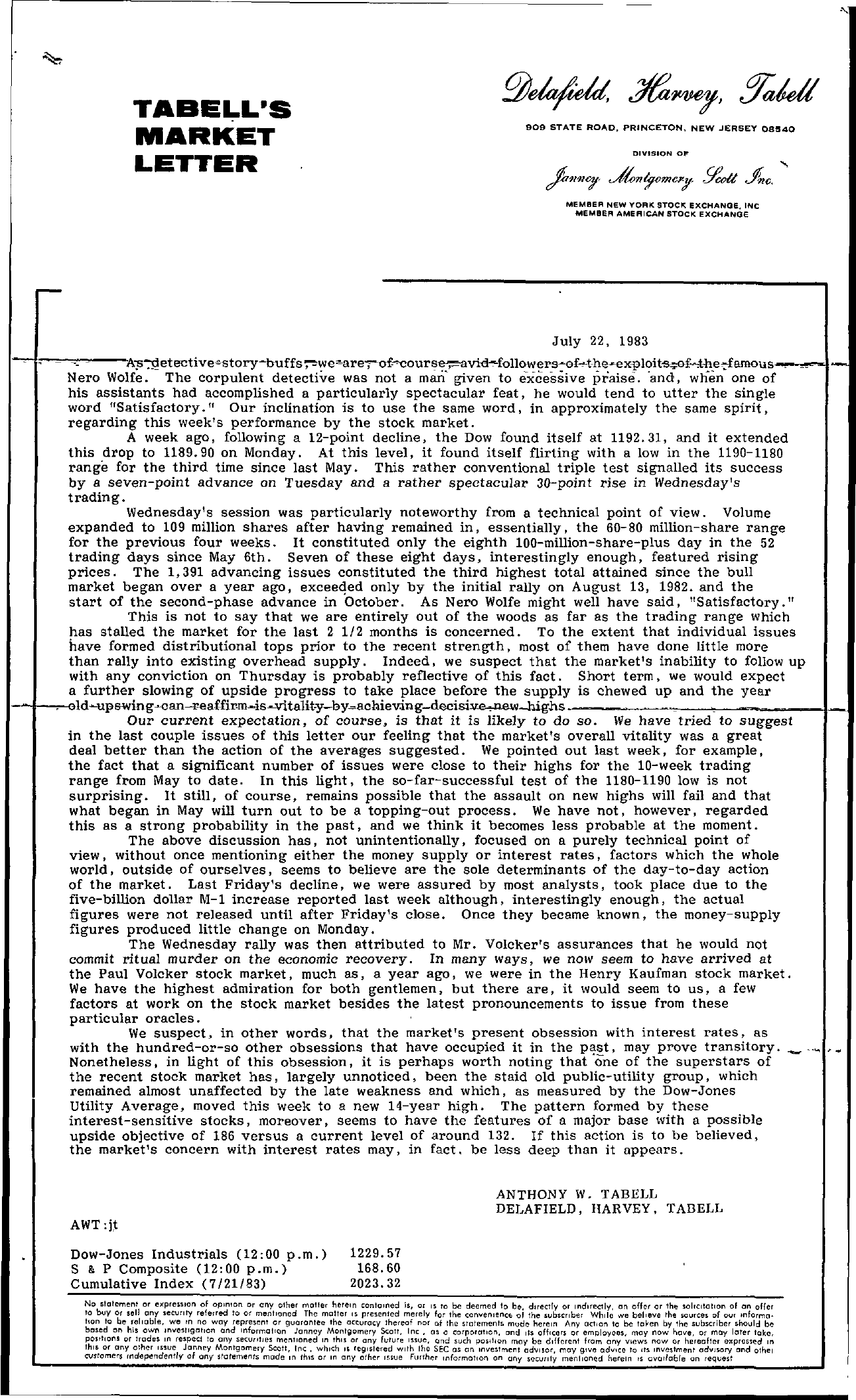 Tabell's Market Letter - July 22, 1983