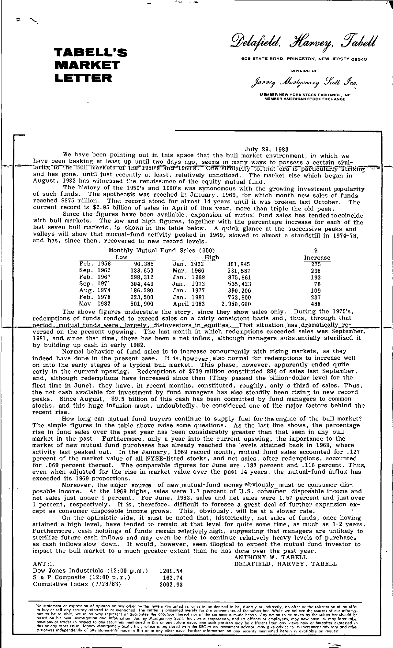 Tabell's Market Letter - July 29, 1983