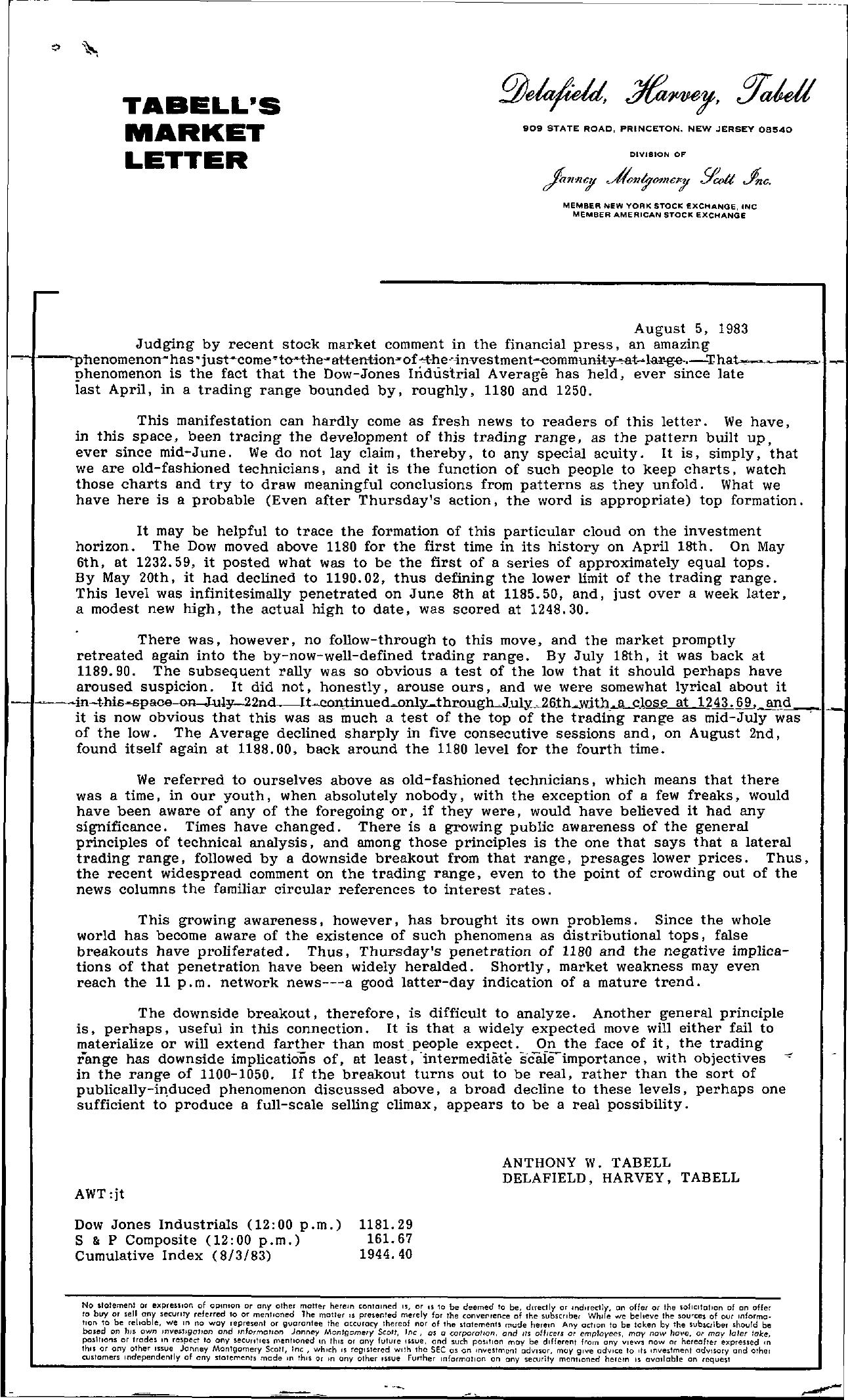 Tabell's Market Letter - August 05, 1983