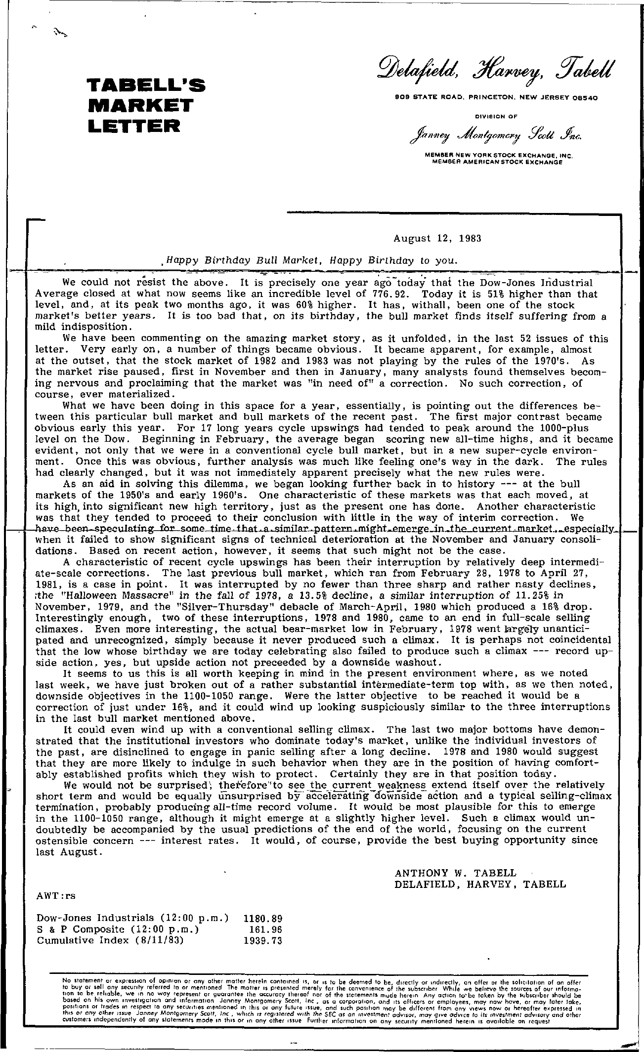 Tabell's Market Letter - August 12, 1983
