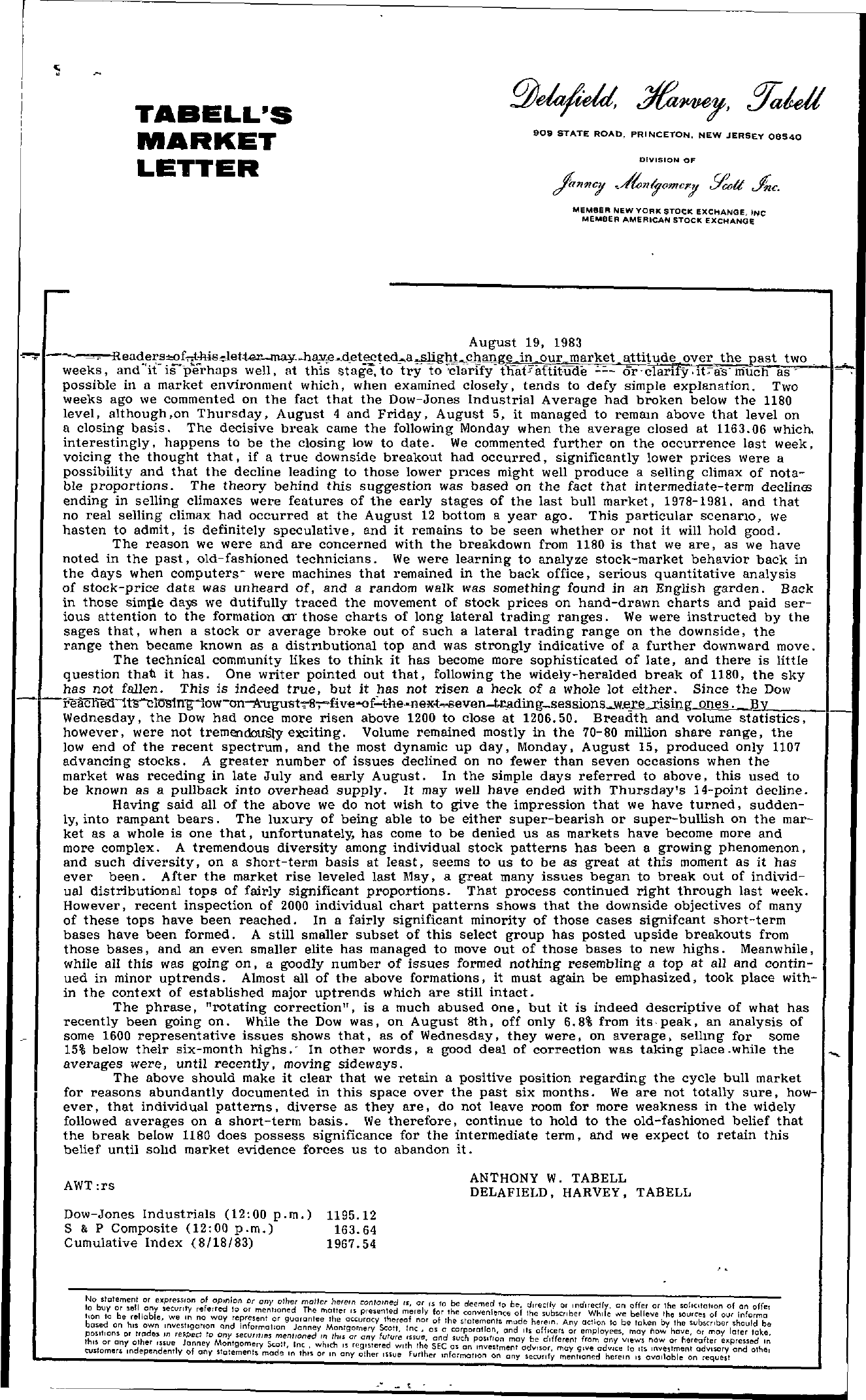 Tabell's Market Letter - August 19, 1983