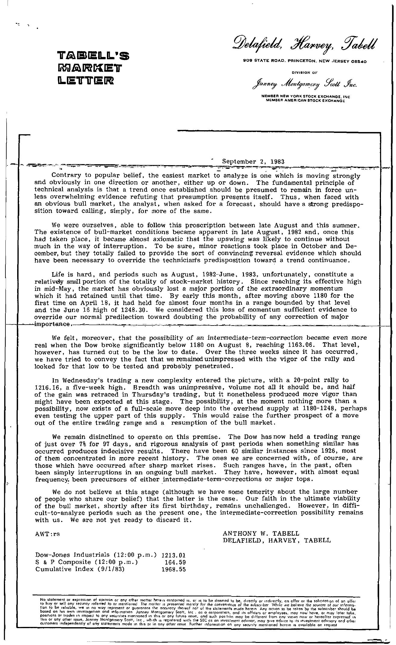 Tabell's Market Letter - September 02, 1983