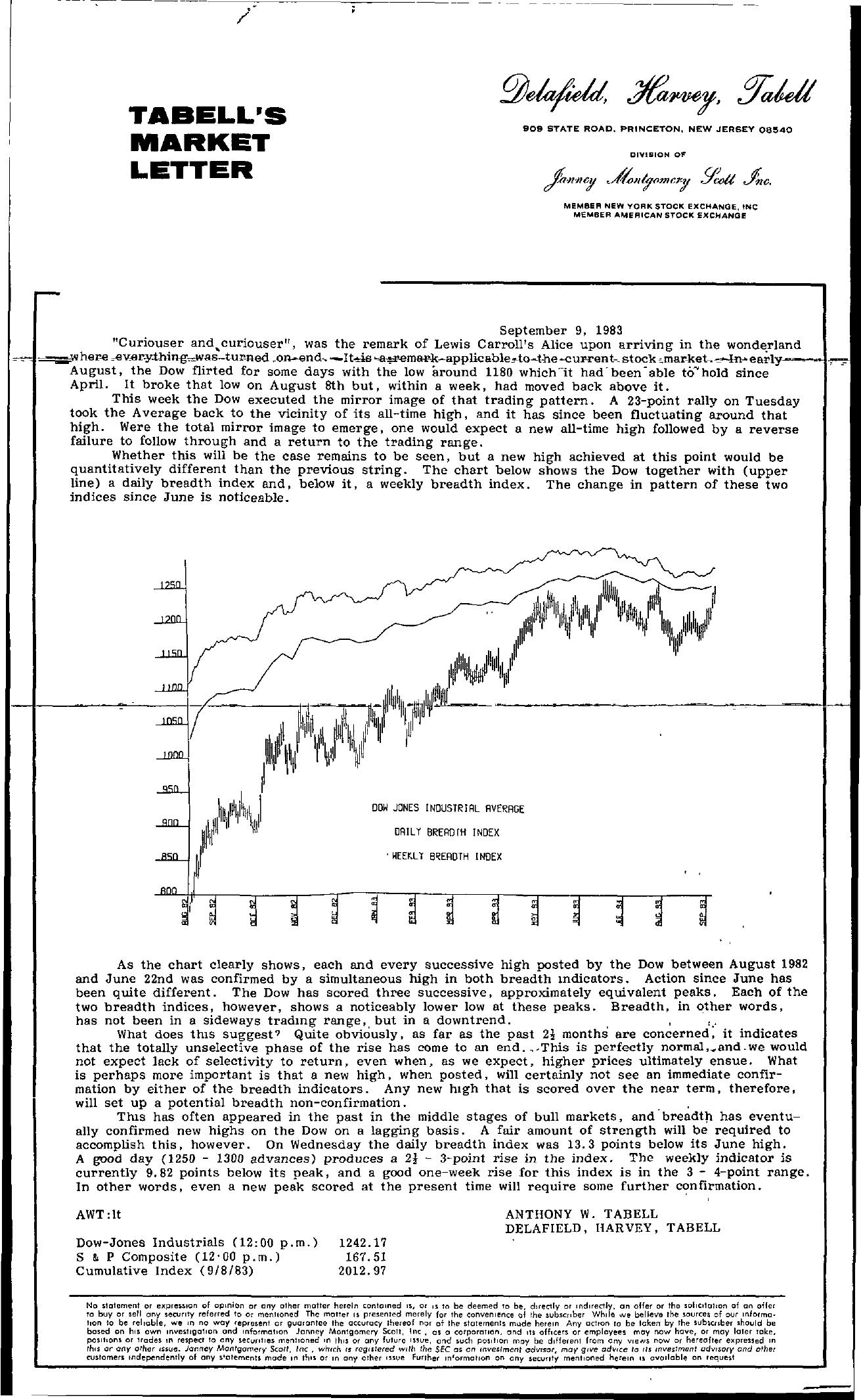 Tabell's Market Letter - September 09, 1983