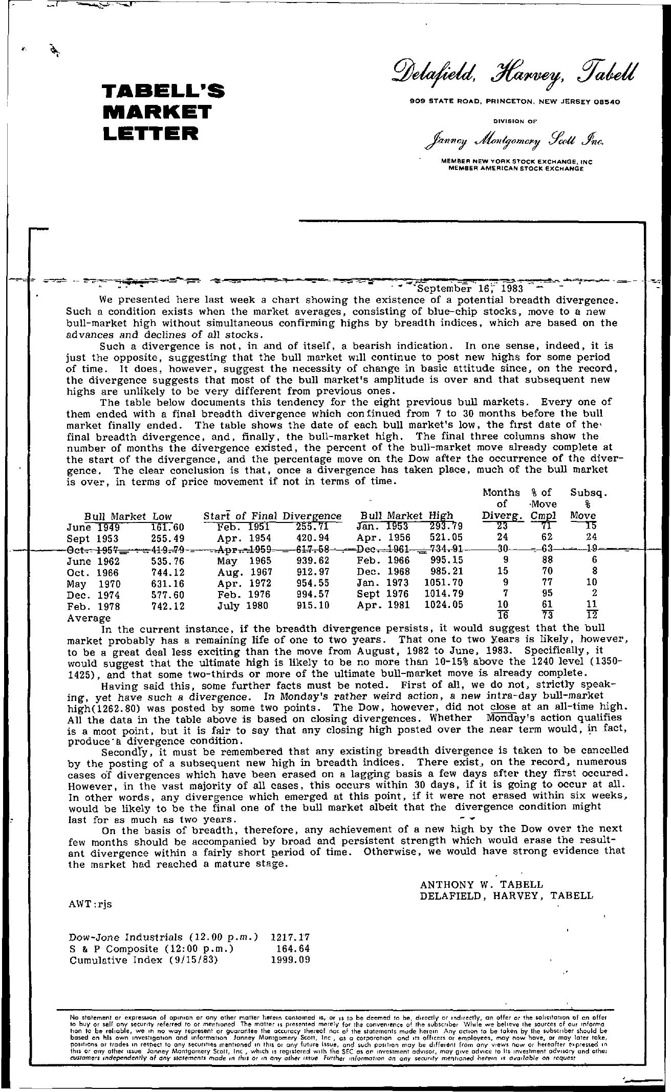 Tabell's Market Letter - September 16, 1983