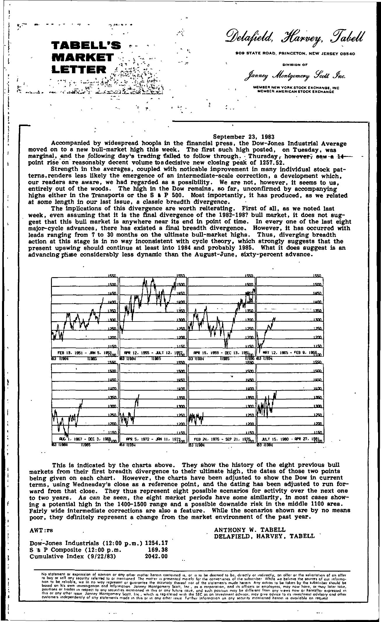 Tabell's Market Letter - September 23, 1983