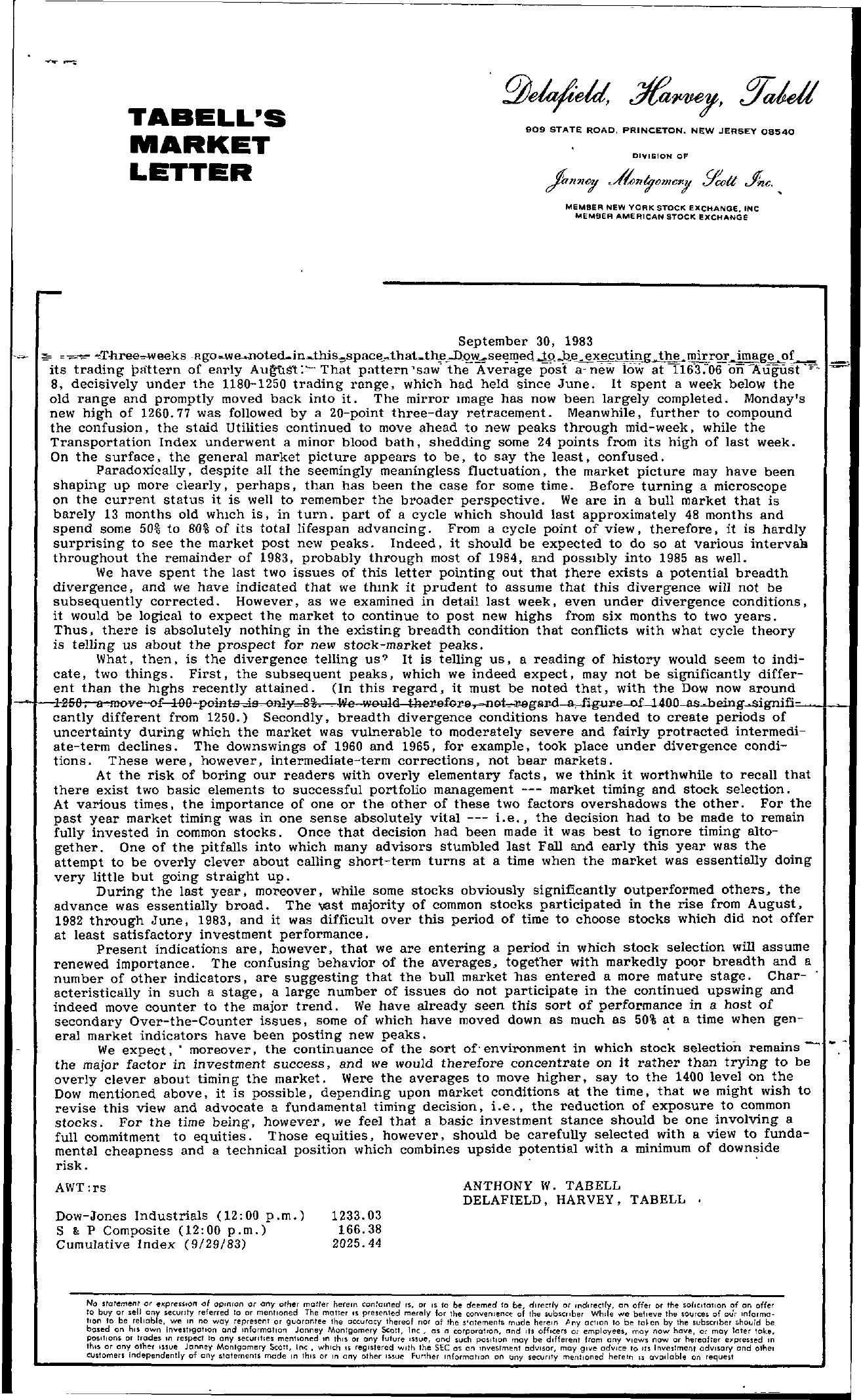 Tabell's Market Letter - September 30, 1983