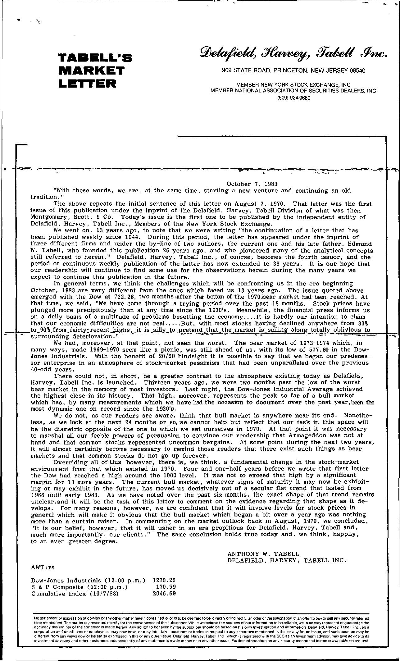 Tabell's Market Letter - October 07, 1983