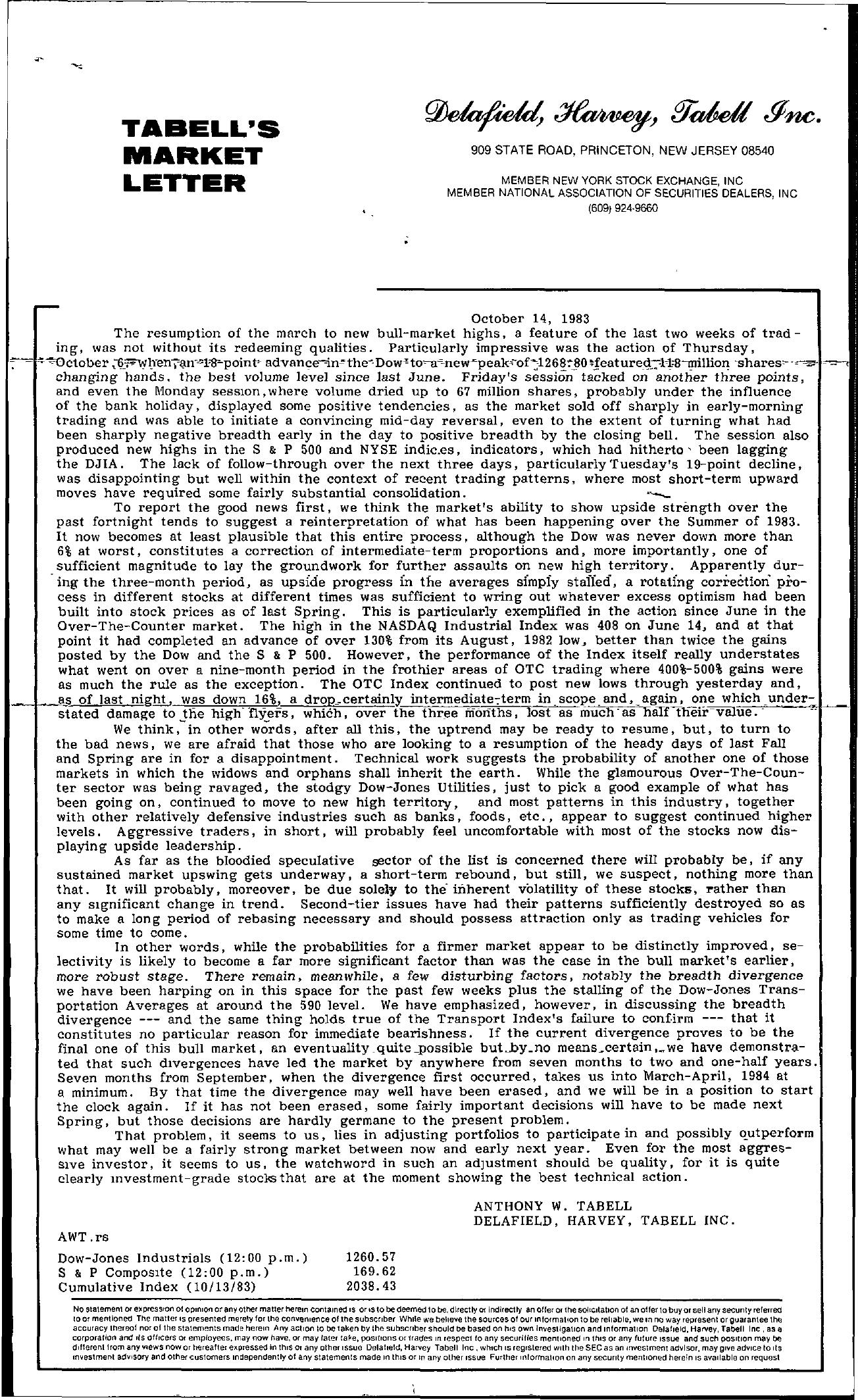 Tabell's Market Letter - October 14, 1983