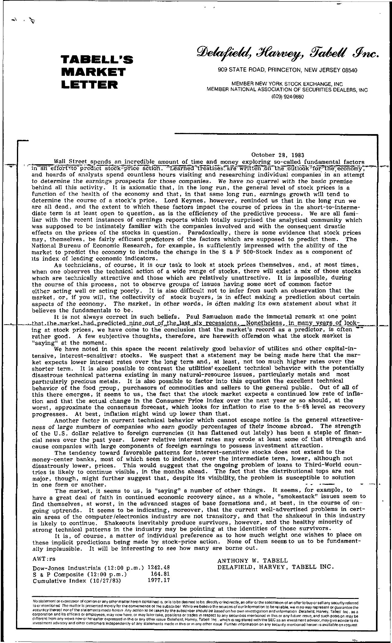 Tabell's Market Letter - October 28, 1983