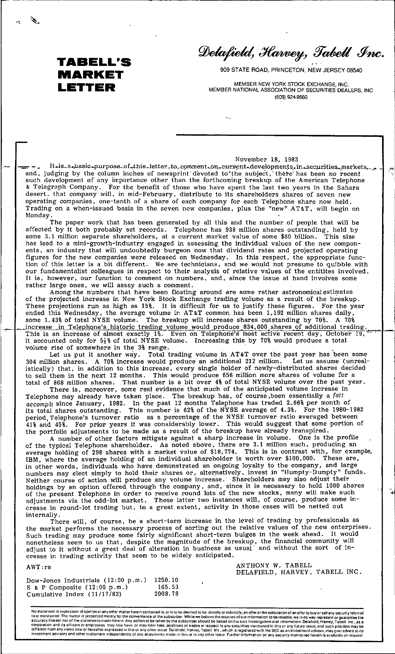 Tabell's Market Letter - November 18, 1983