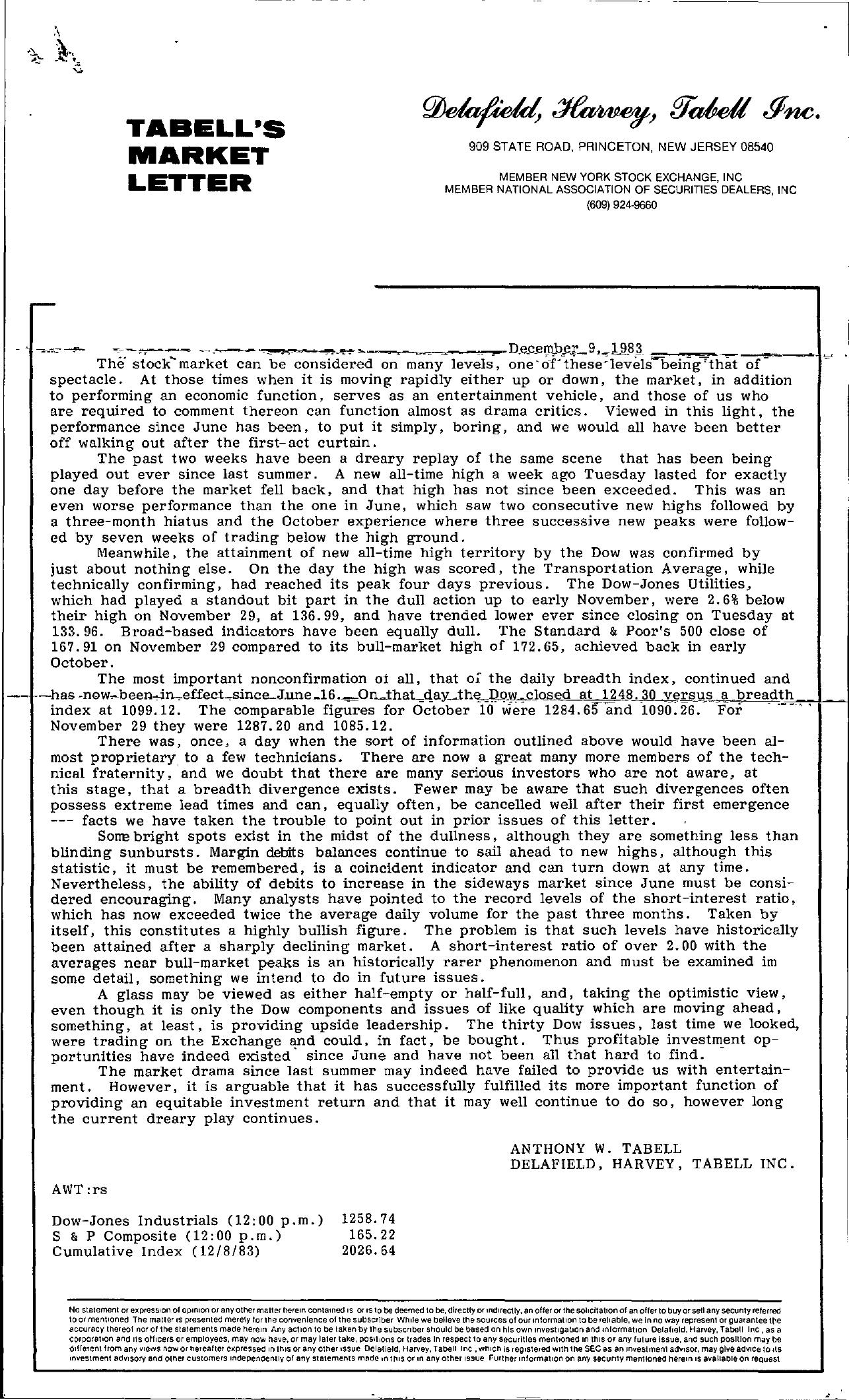 Tabell's Market Letter - December 09, 1983