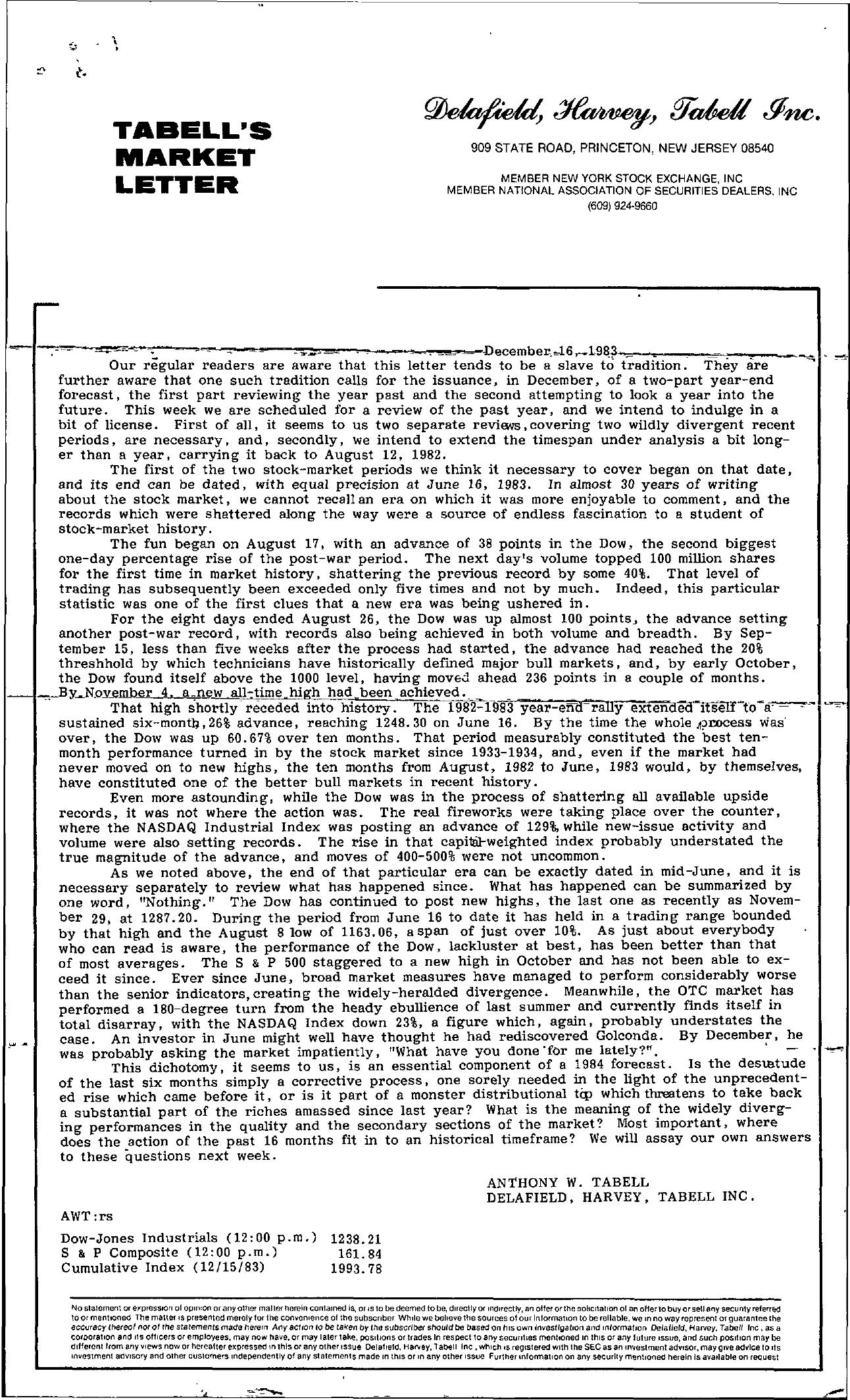 Tabell's Market Letter - December 16, 1983