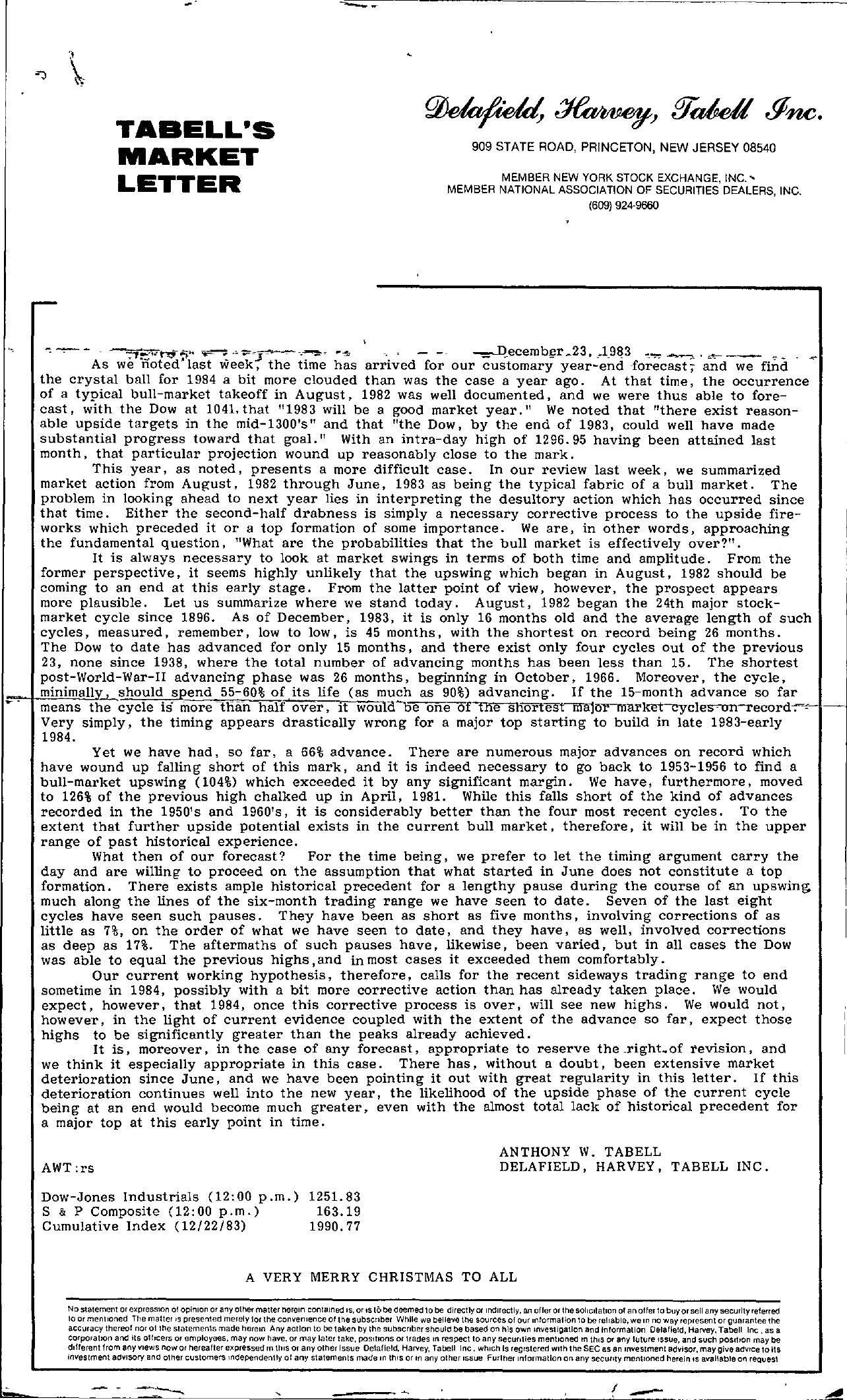 Tabell's Market Letter - December 23, 1983