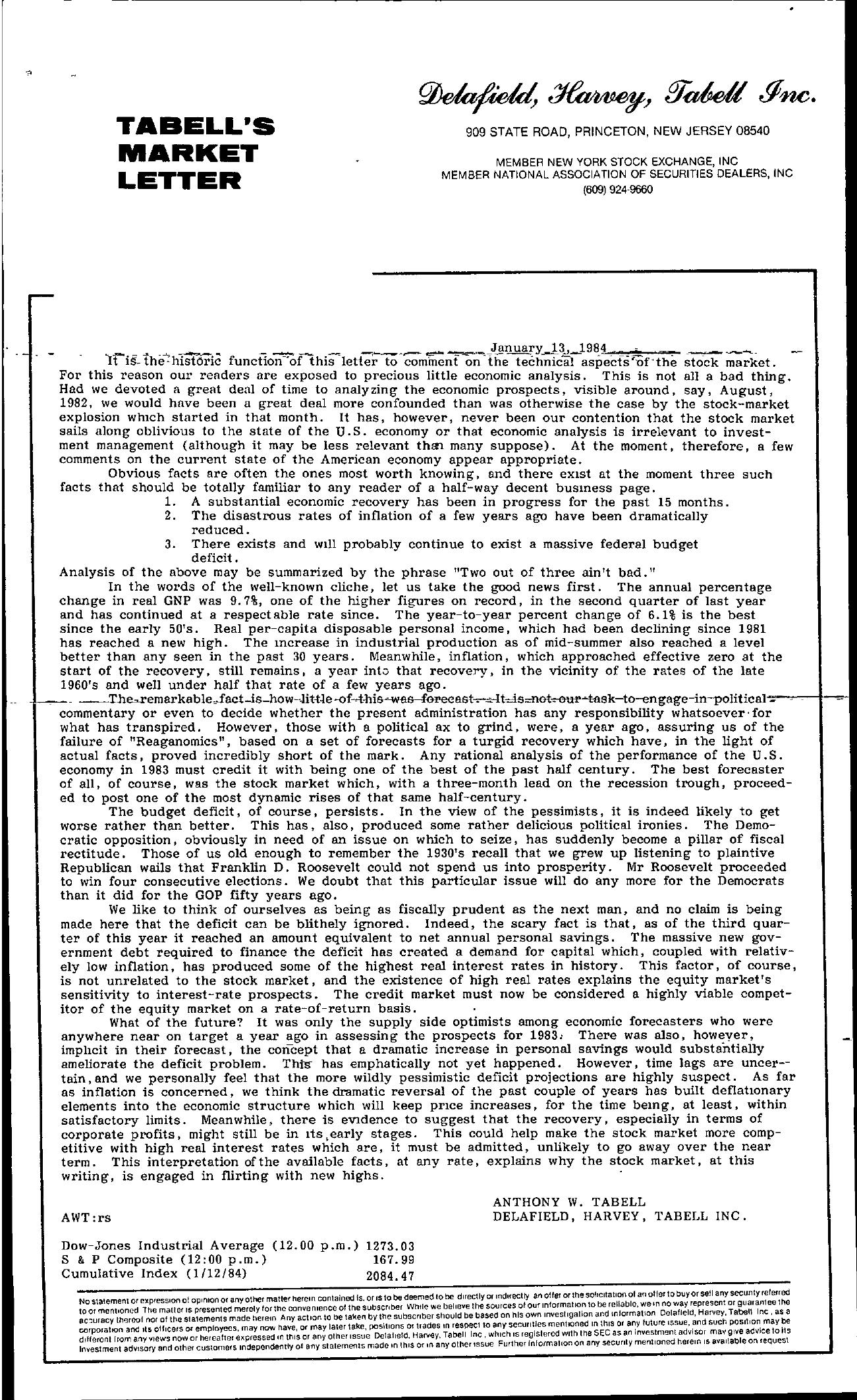 Tabell's Market Letter - January 13, 1984