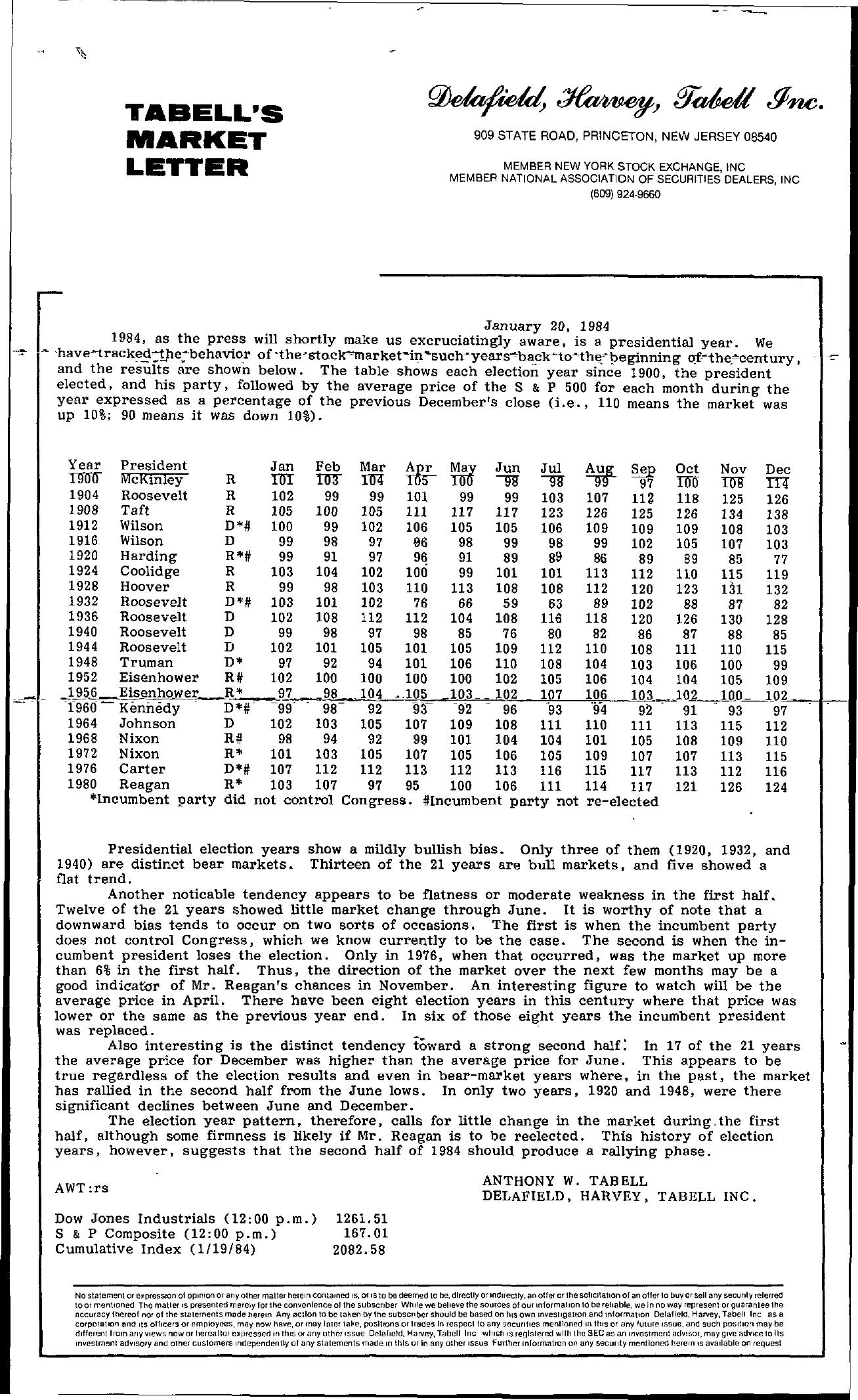 Tabell's Market Letter - January 20, 1984