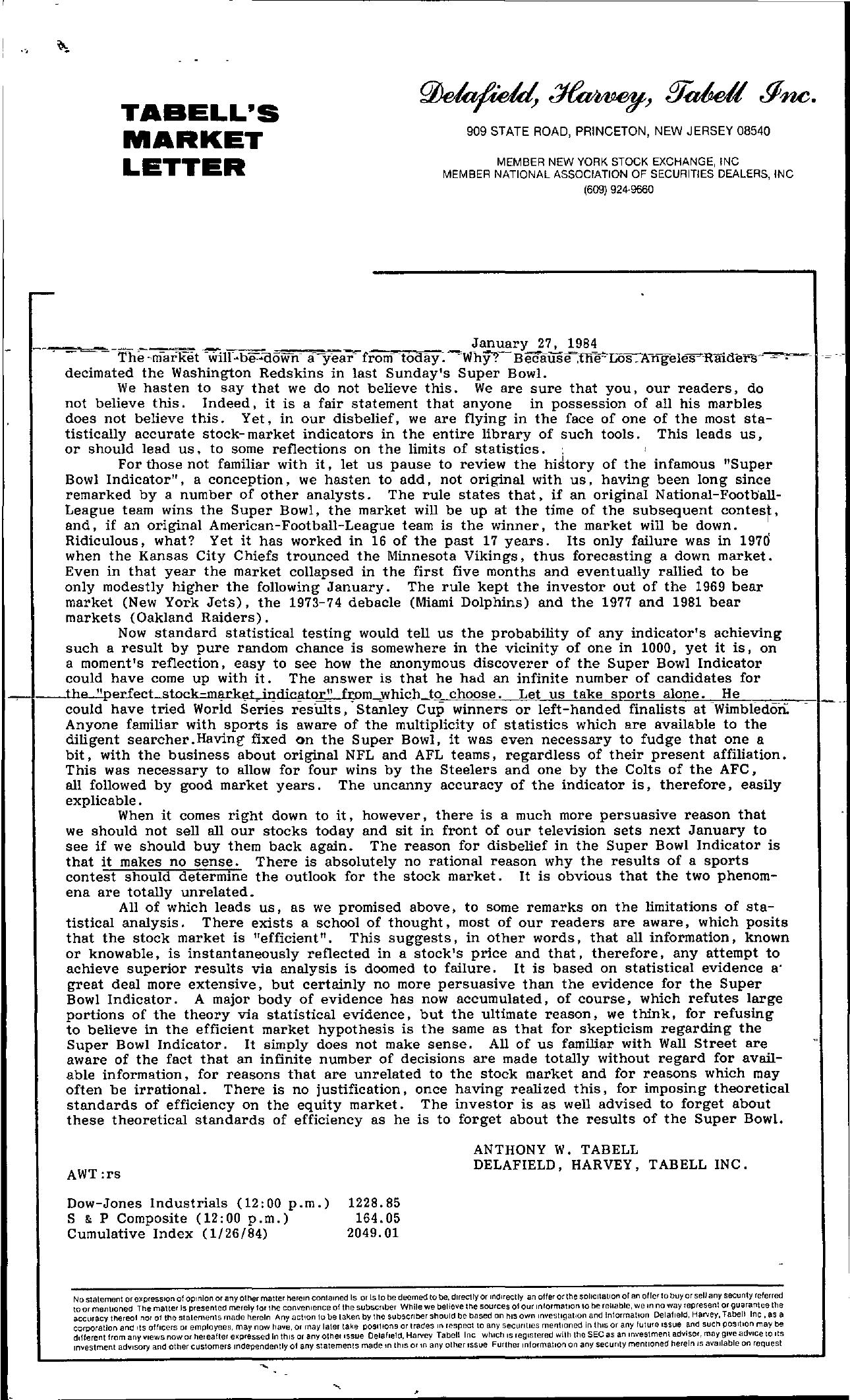 Tabell's Market Letter - January 27, 1984