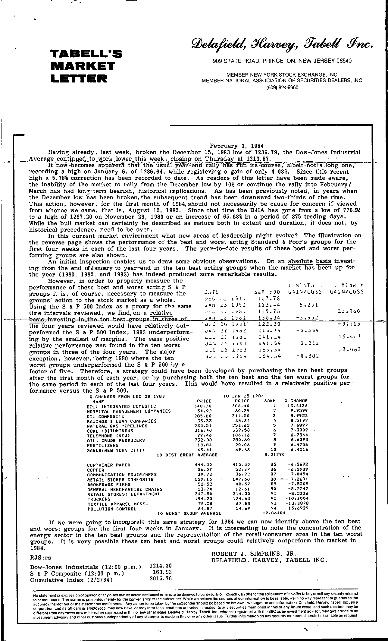 Tabell's Market Letter - February 03, 1984 page 1