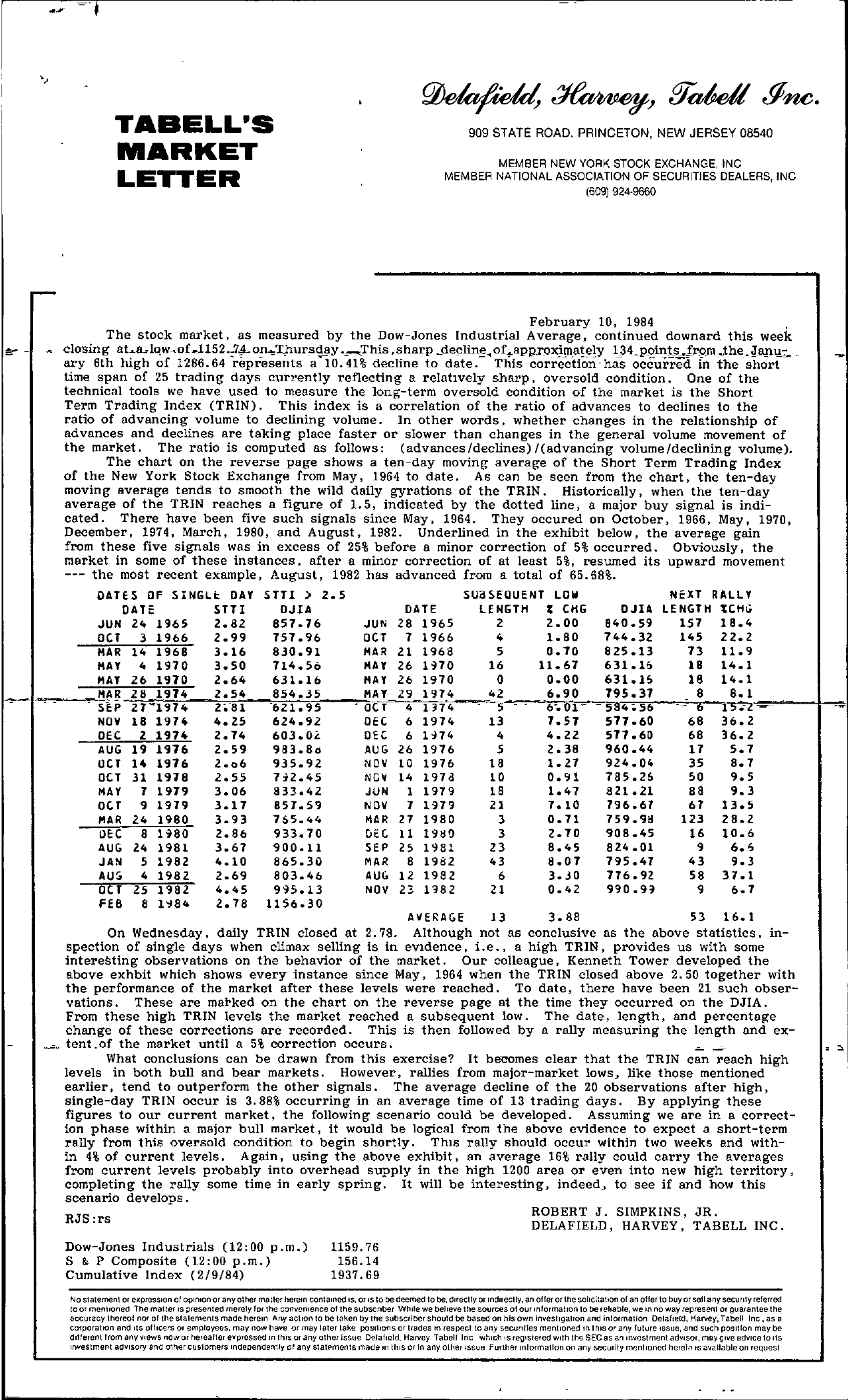 Tabell's Market Letter - February 10, 1984 page 1