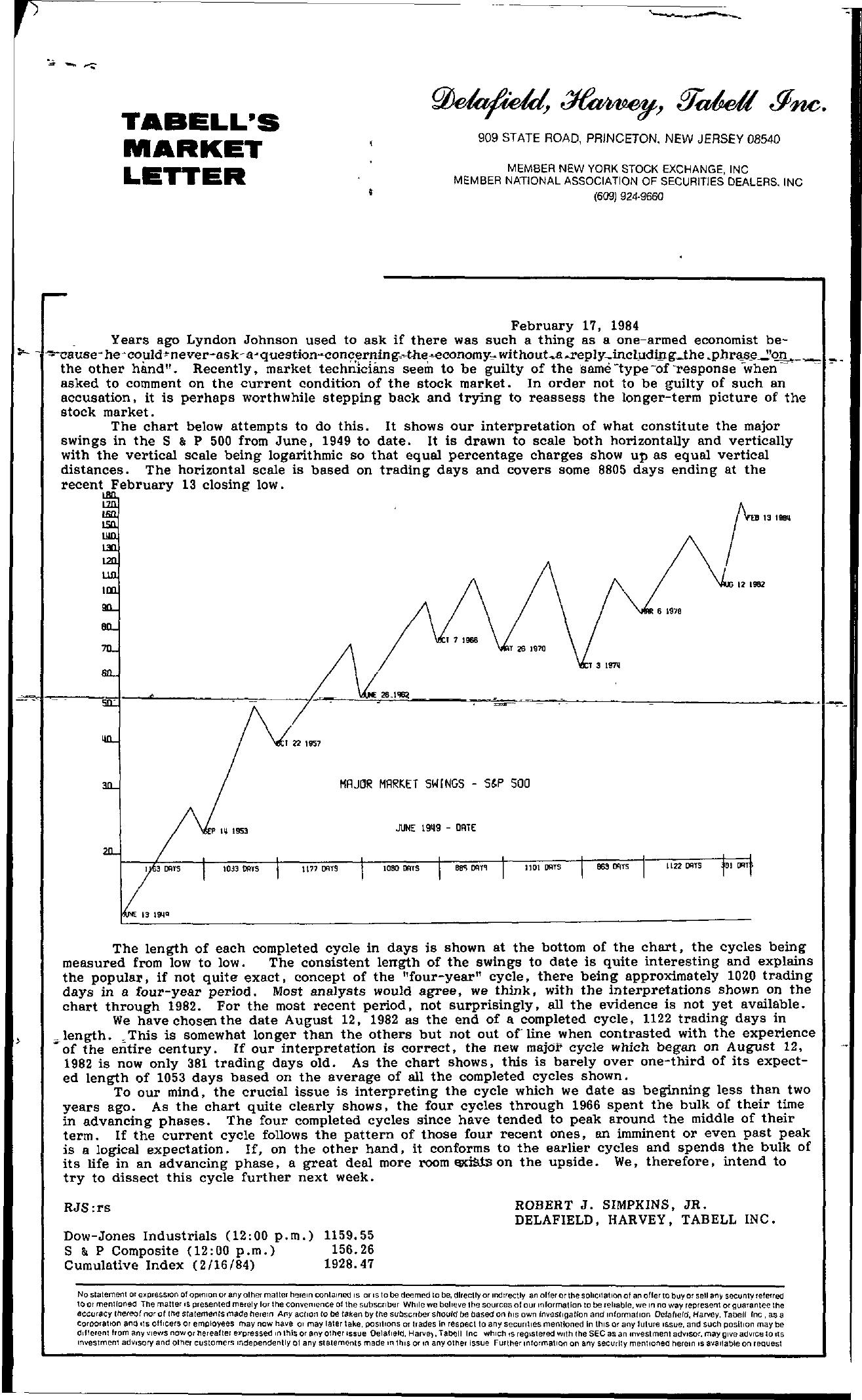 Tabell's Market Letter - February 17, 1984