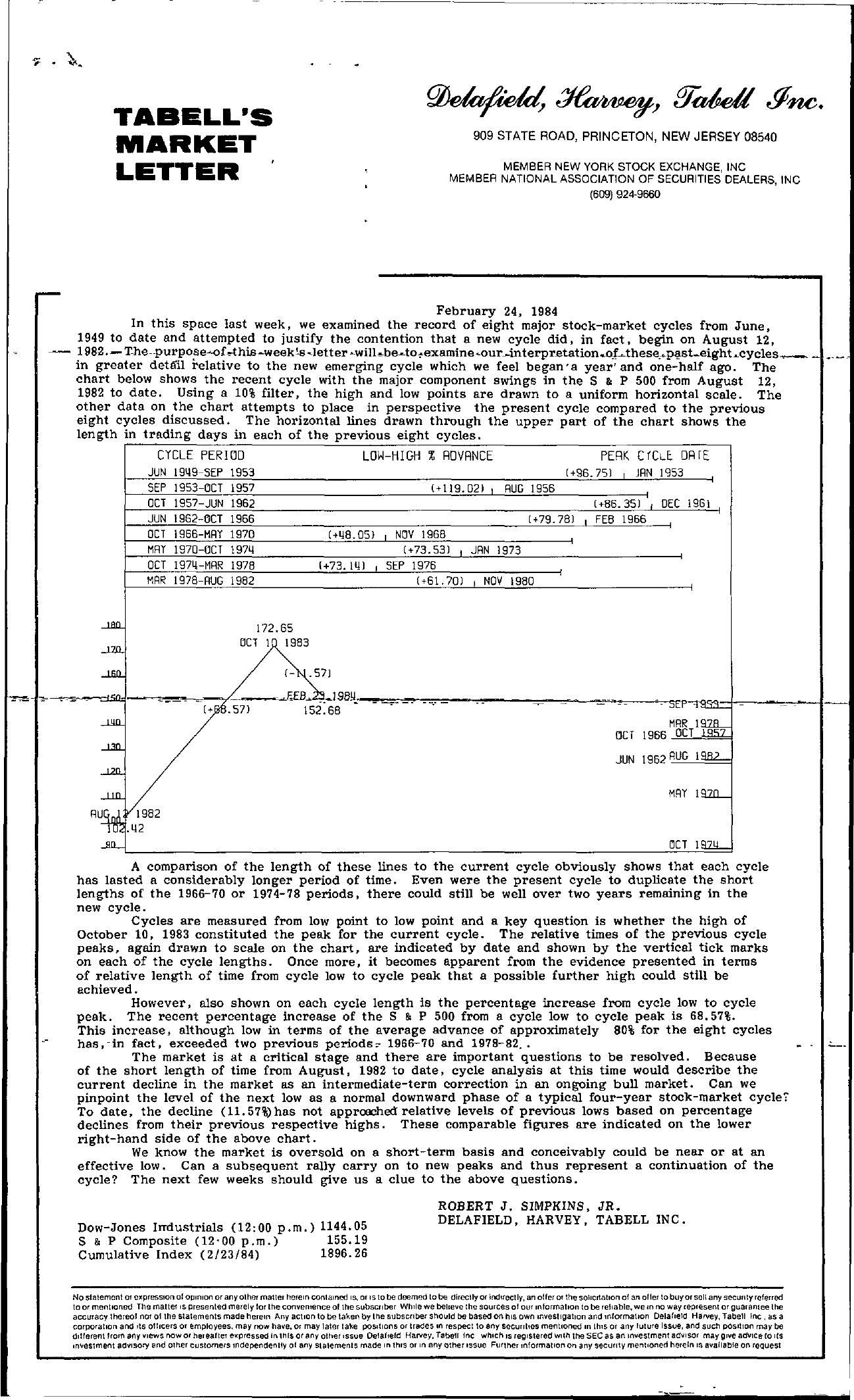 Tabell's Market Letter - February 24, 1984