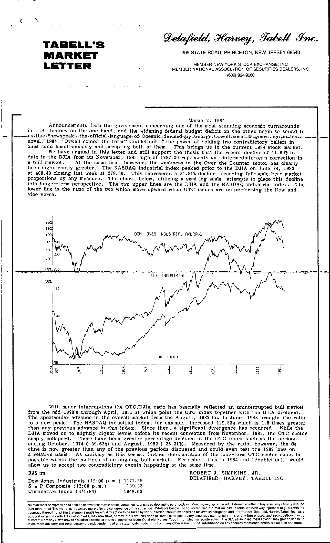 Tabell's Market Letter - March 02, 1984