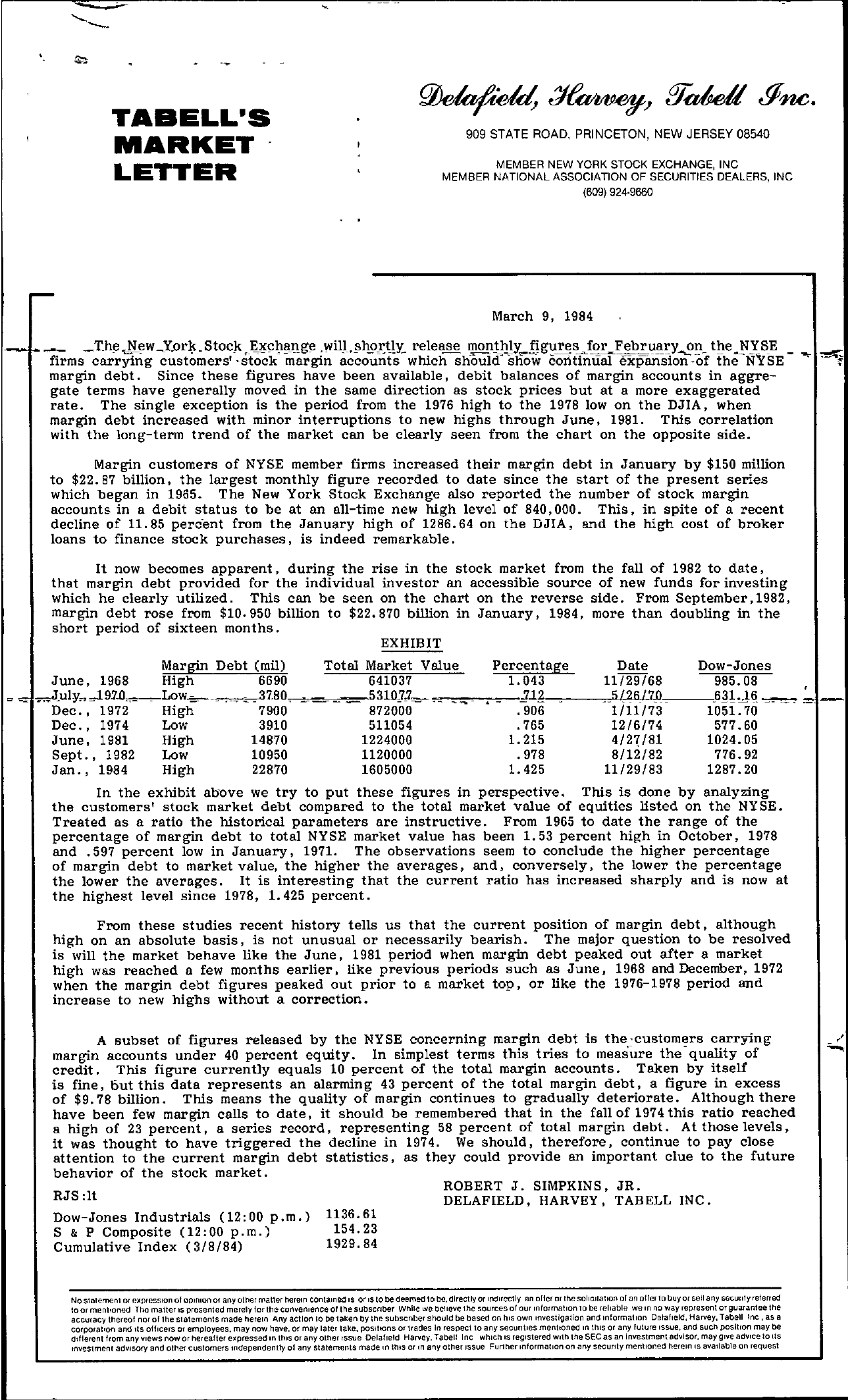 Tabell's Market Letter - March 09, 1984 page 1