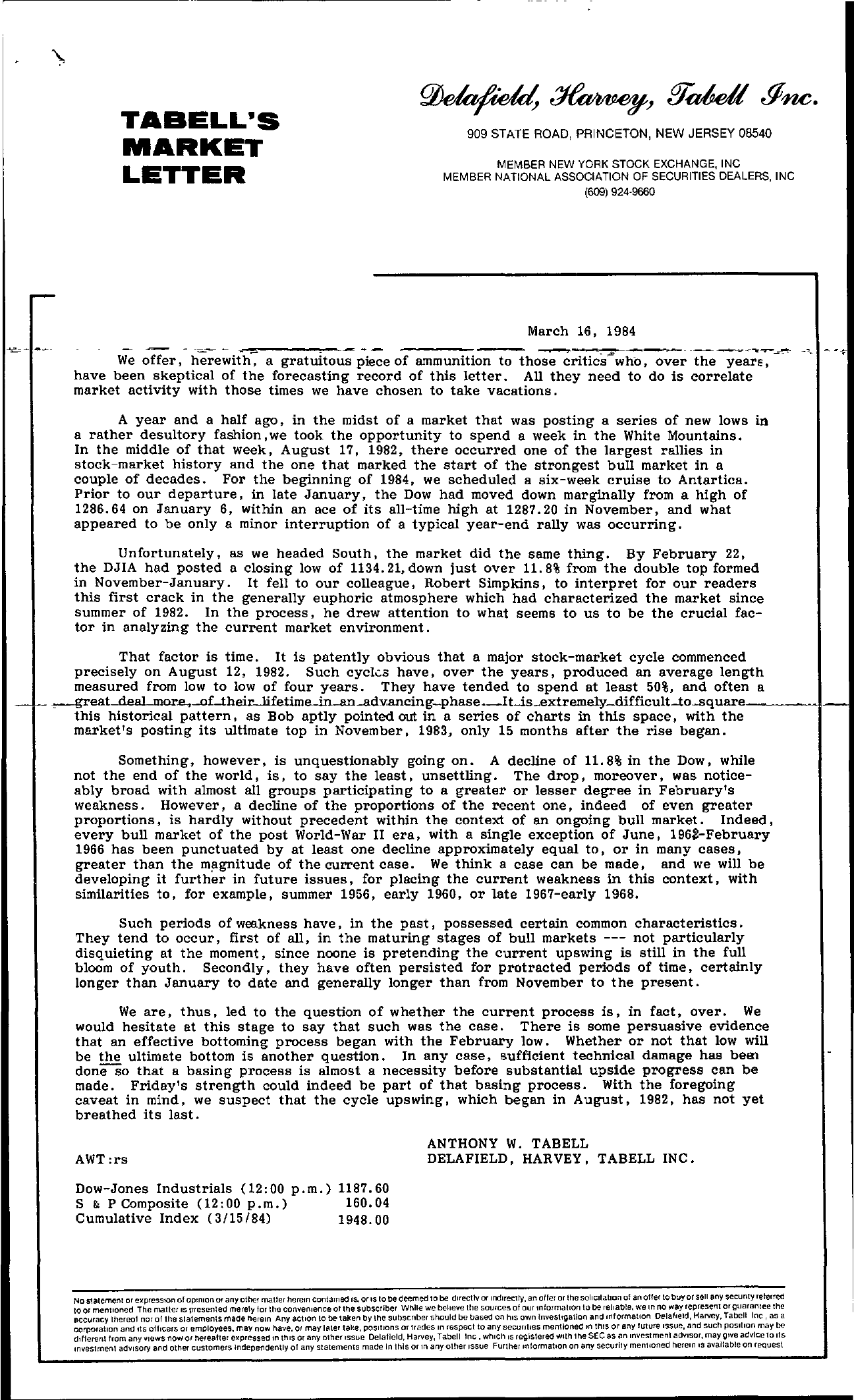 Tabell's Market Letter - March 16, 1984