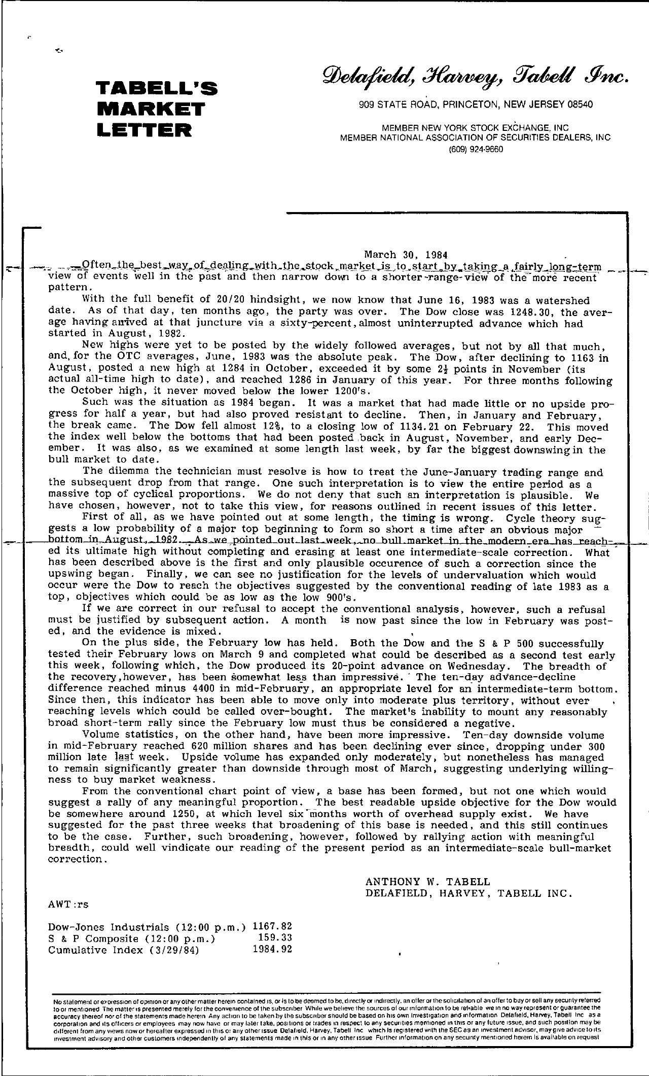 Tabell's Market Letter - March 30, 1984