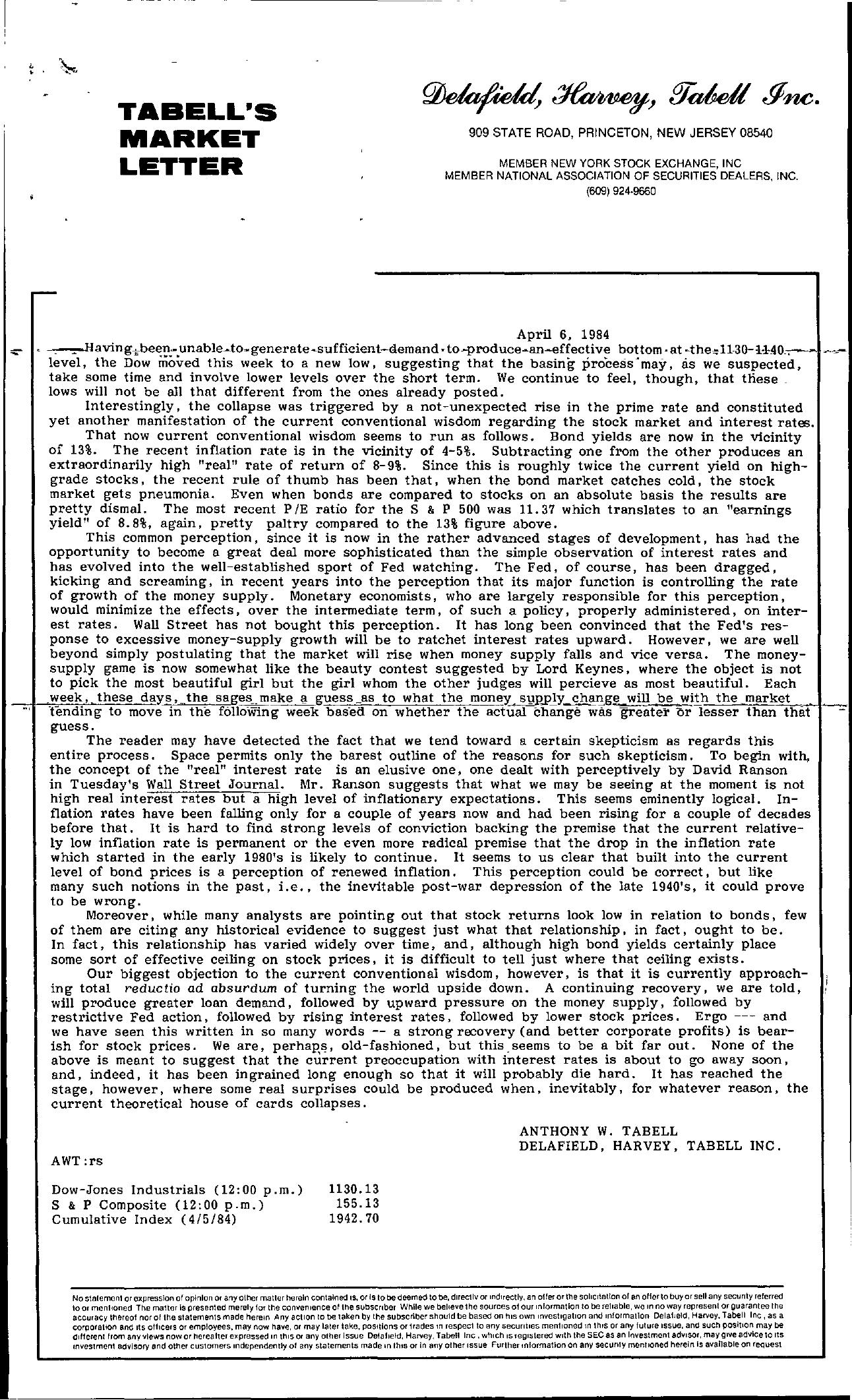 Tabell's Market Letter - April 06, 1984