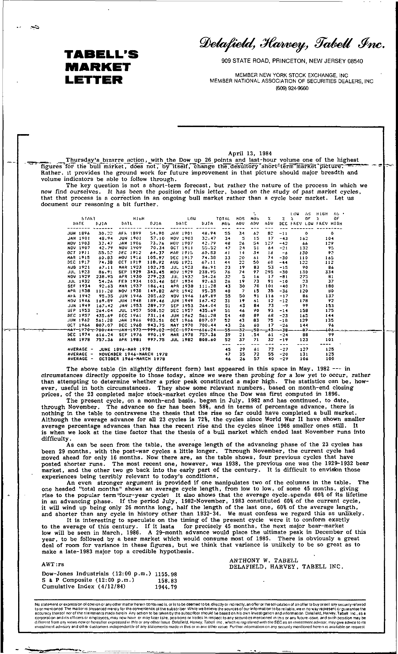 Tabell's Market Letter - April 13, 1984