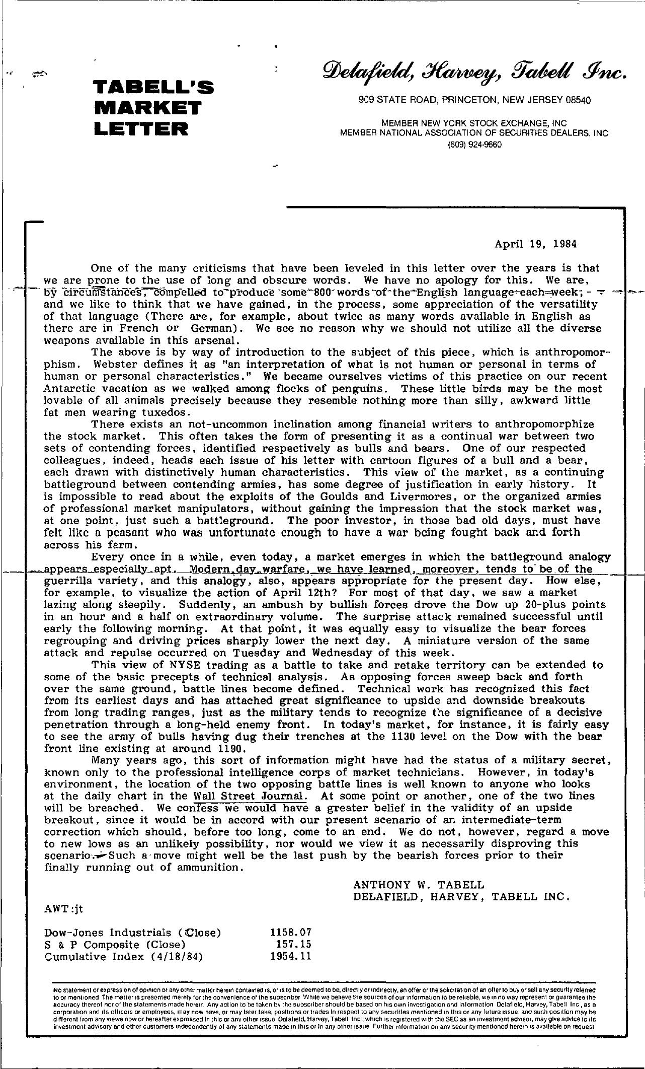 Tabell's Market Letter - April 19, 1984