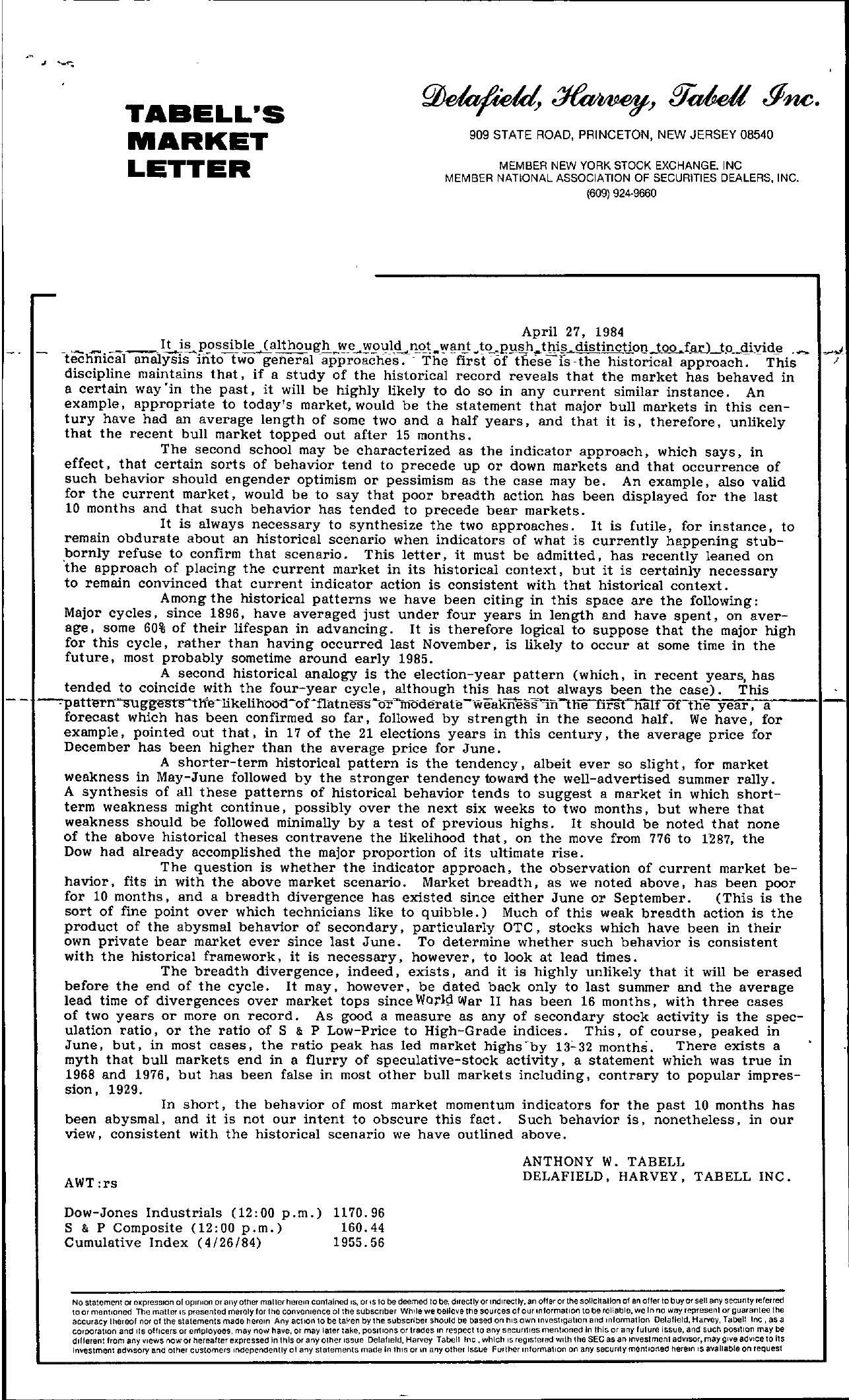 Tabell's Market Letter - April 27, 1984