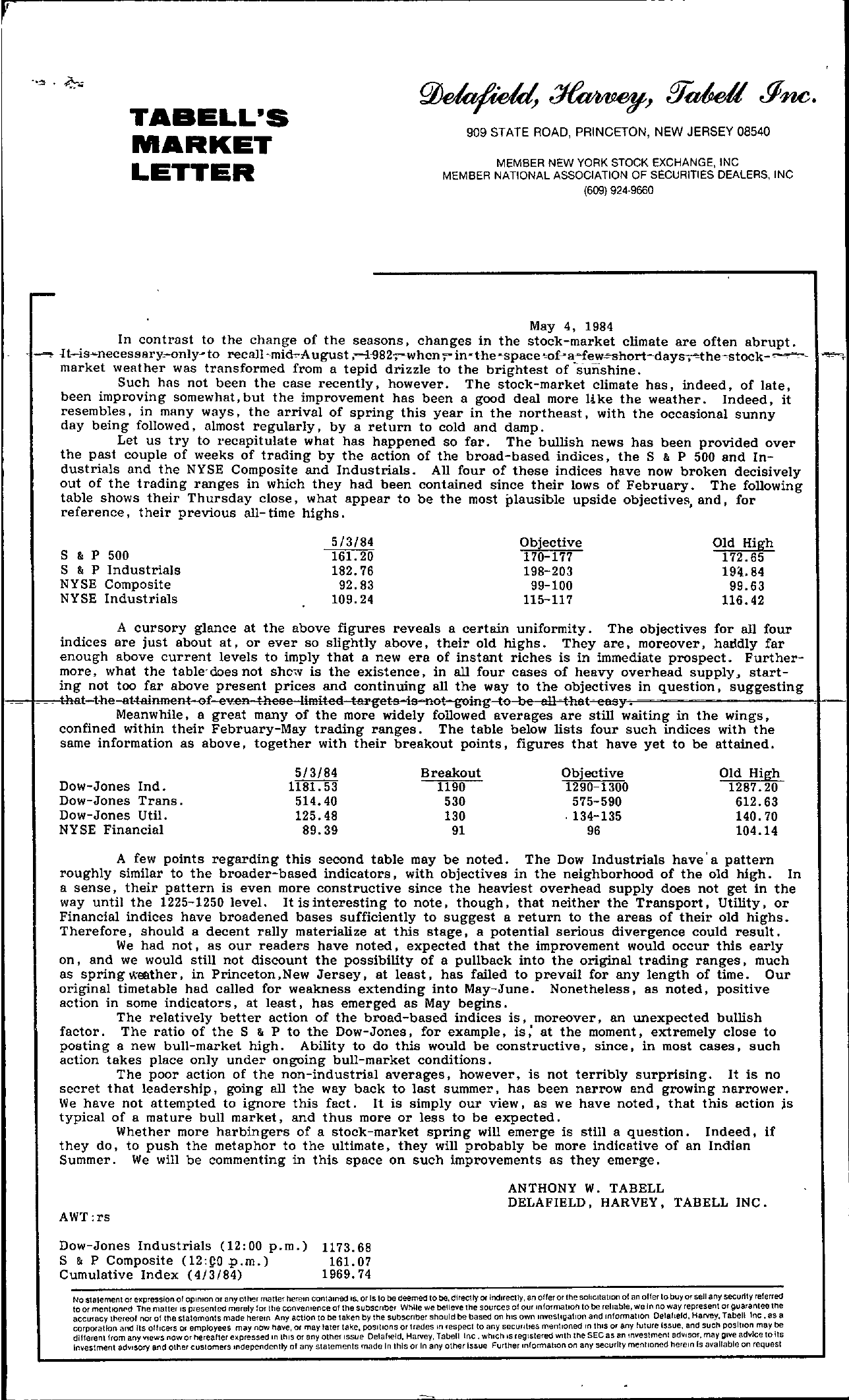 Tabell's Market Letter - May 04, 1984