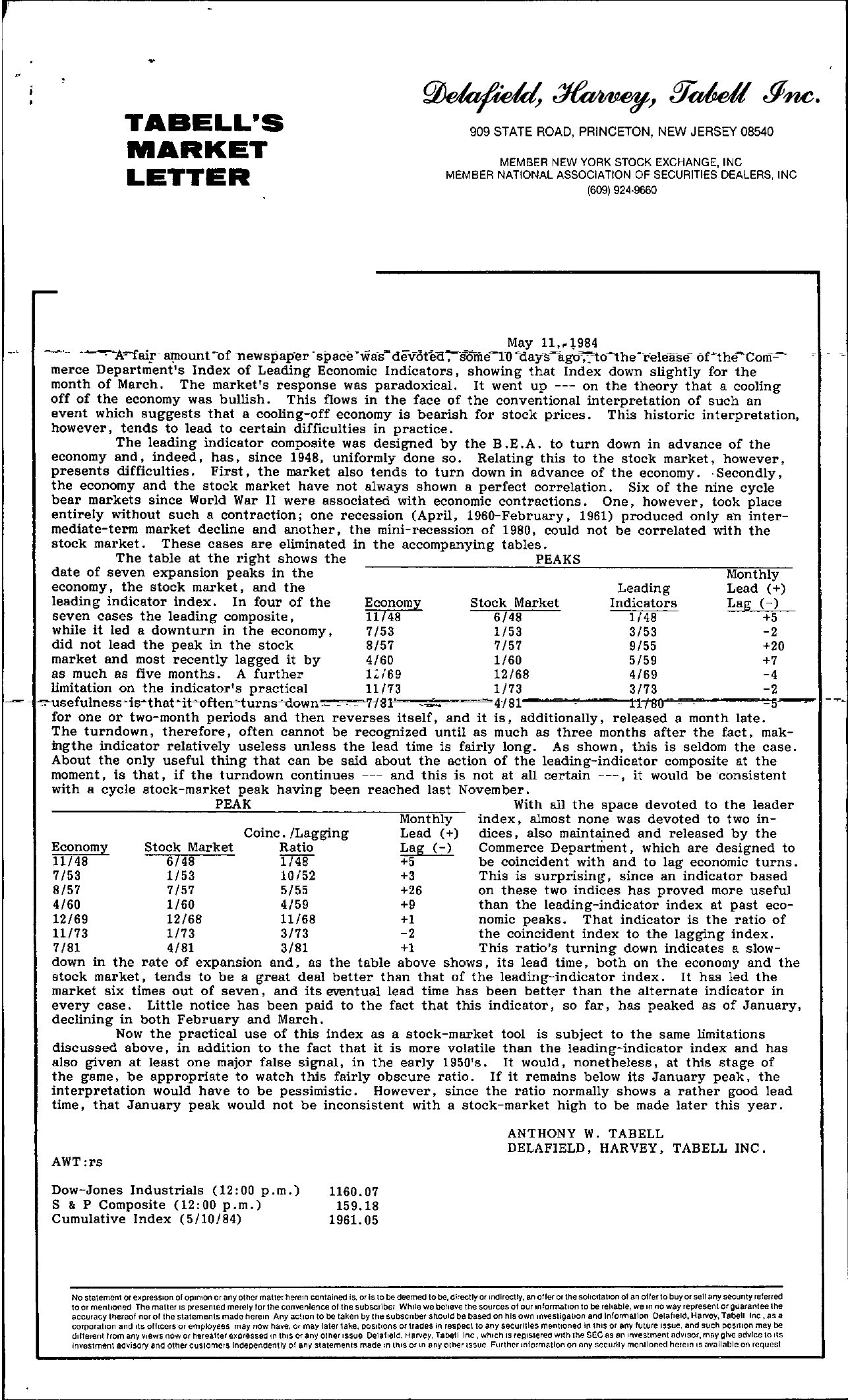 Tabell's Market Letter - May 11, 1984
