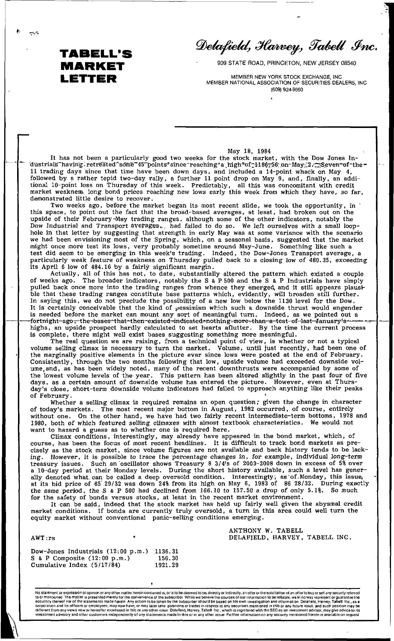 Tabell's Market Letter - May 18, 1984