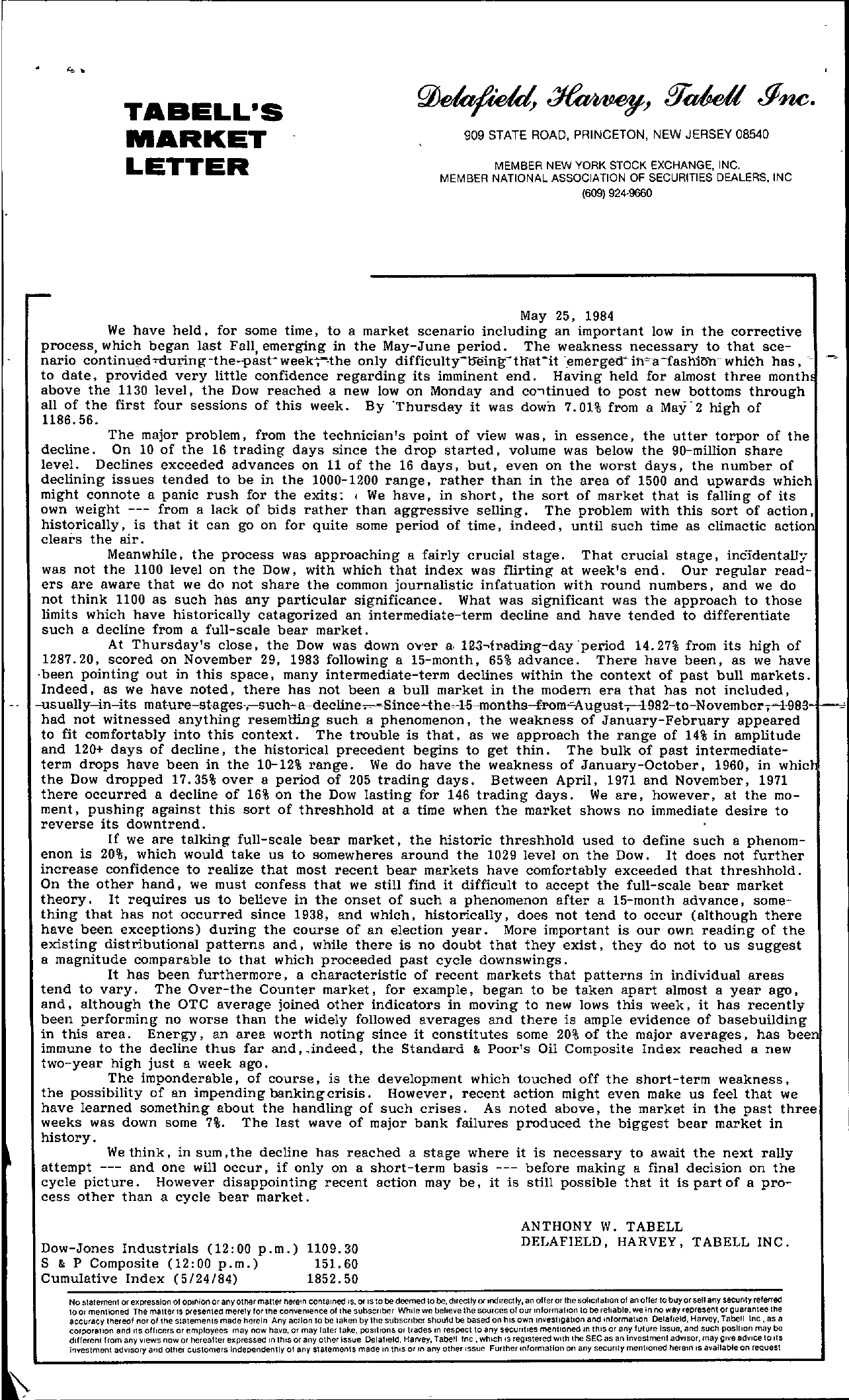 Tabell's Market Letter - May 25, 1984