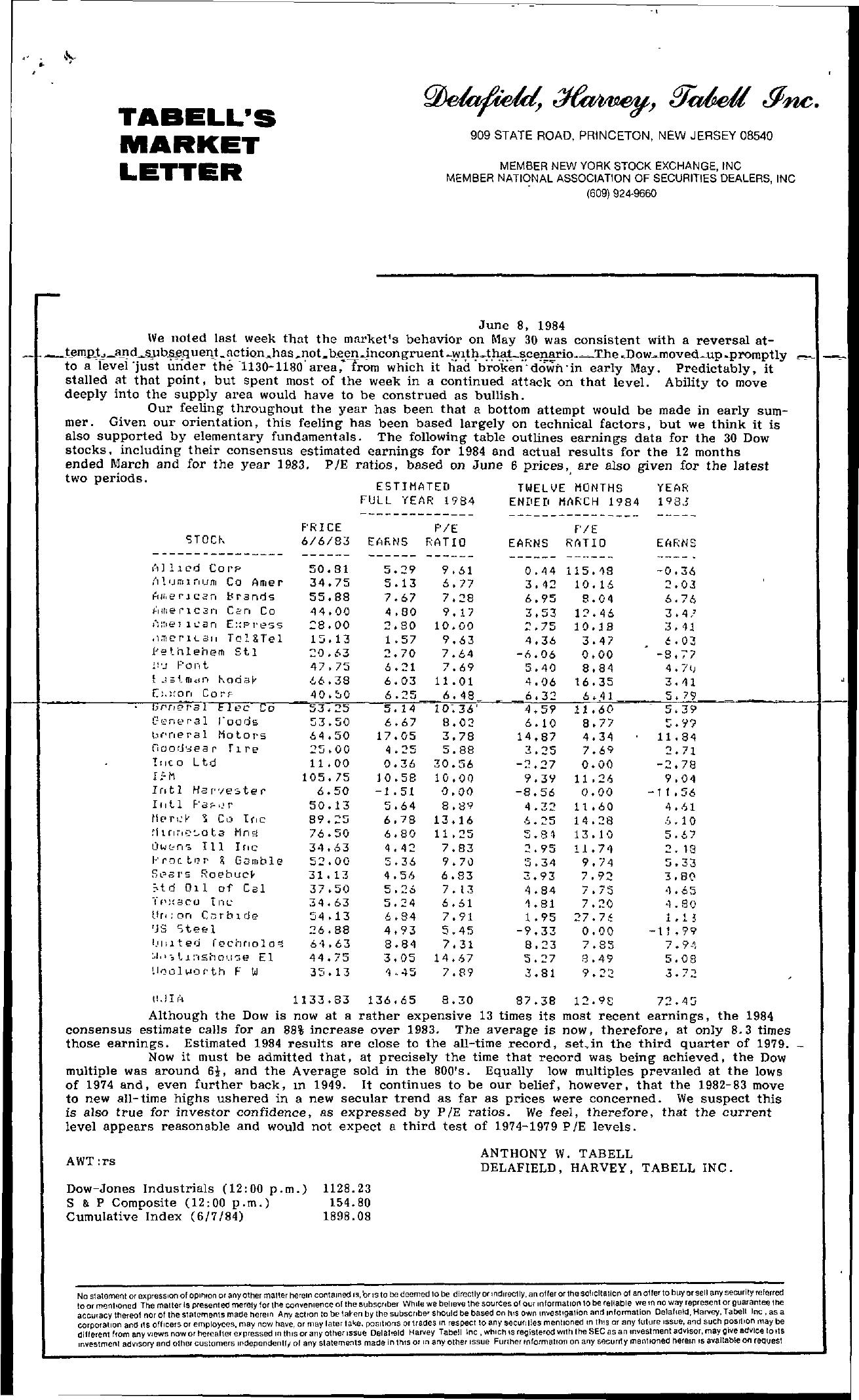 Tabell's Market Letter - June 08, 1984