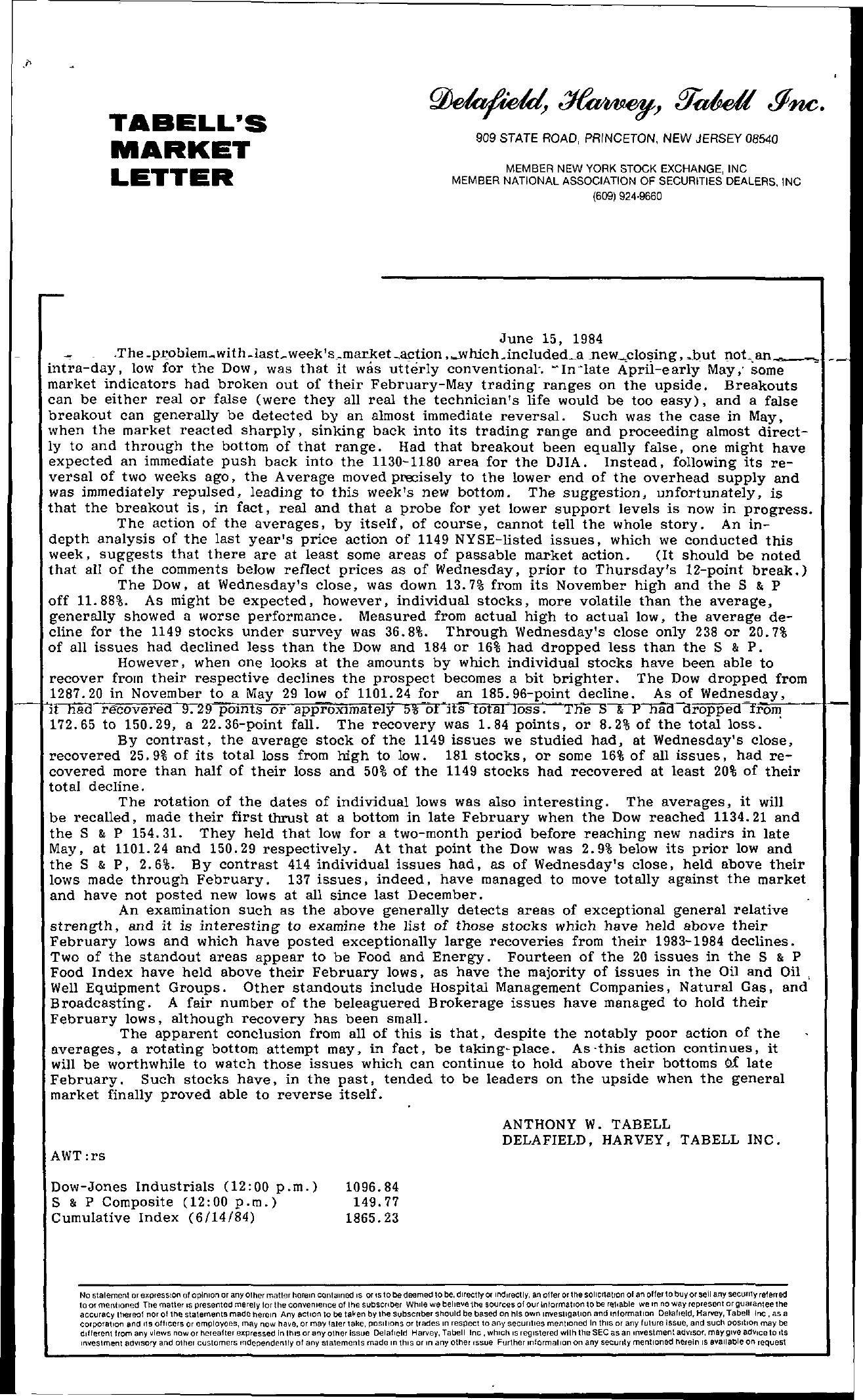 Tabell's Market Letter - June 15, 1984