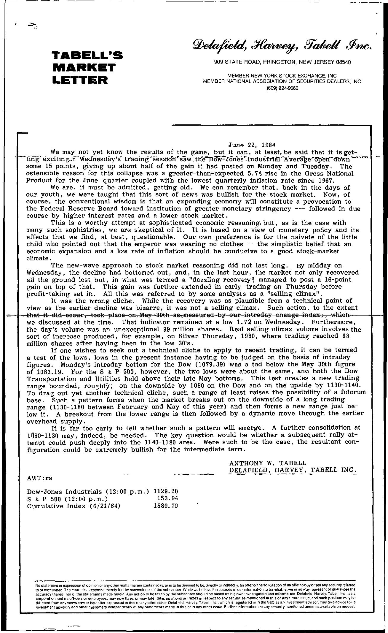 Tabell's Market Letter - June 22, 1984