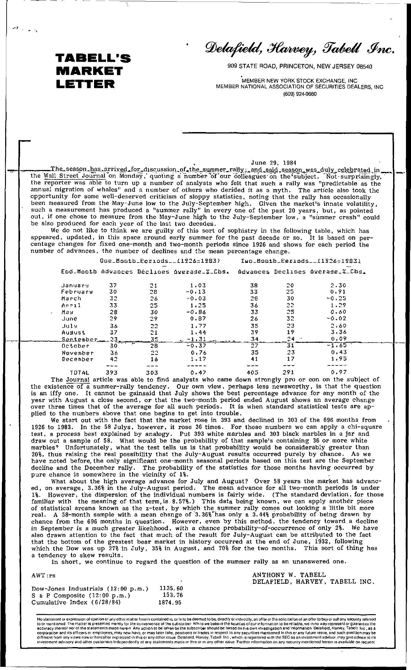 Tabell's Market Letter - June 29, 1984