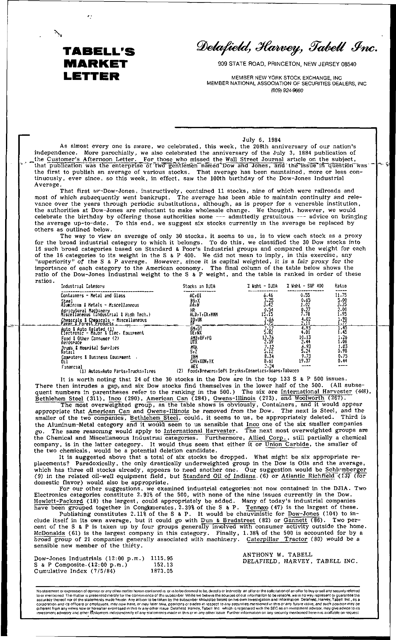 Tabell's Market Letter - July 06, 1984