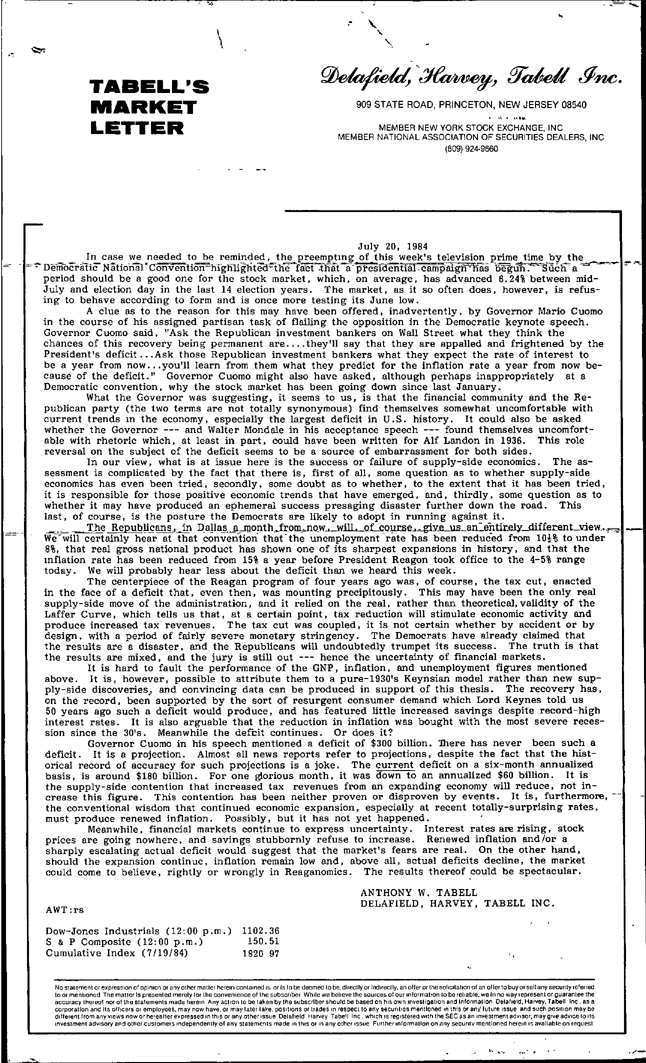 Tabell's Market Letter - July 20, 1984