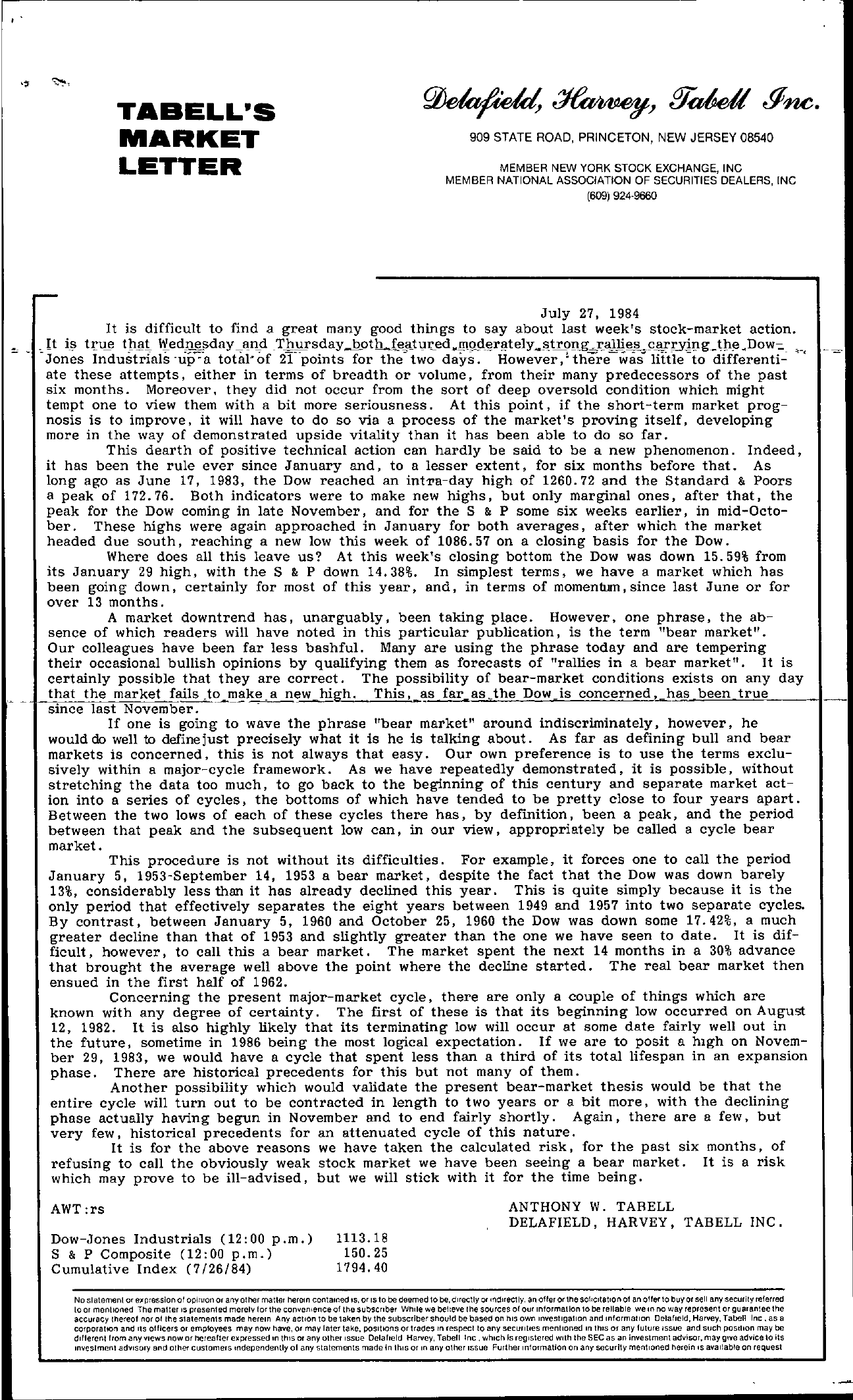 Tabell's Market Letter - July 27, 1984