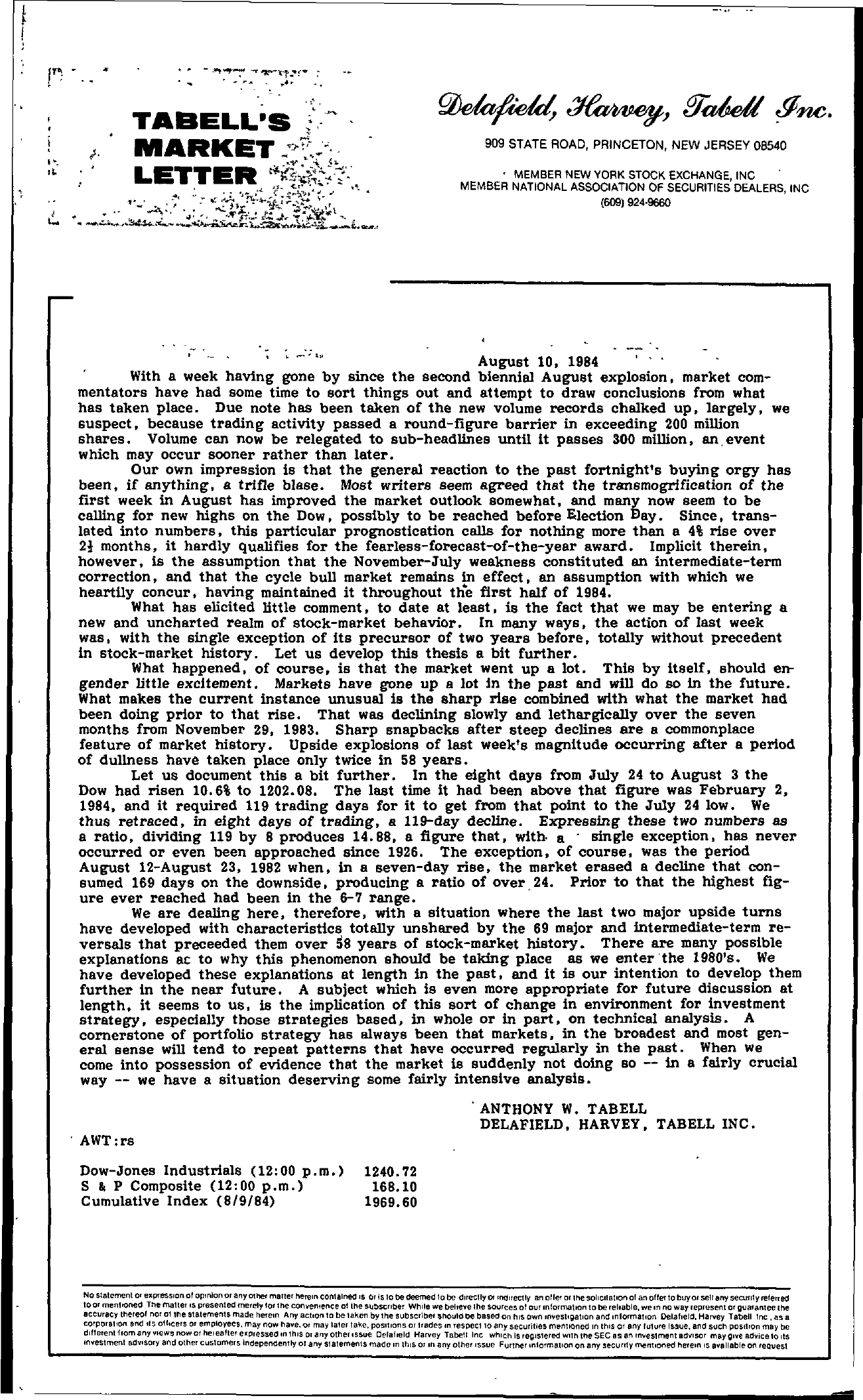 Tabell's Market Letter - August 10, 1984