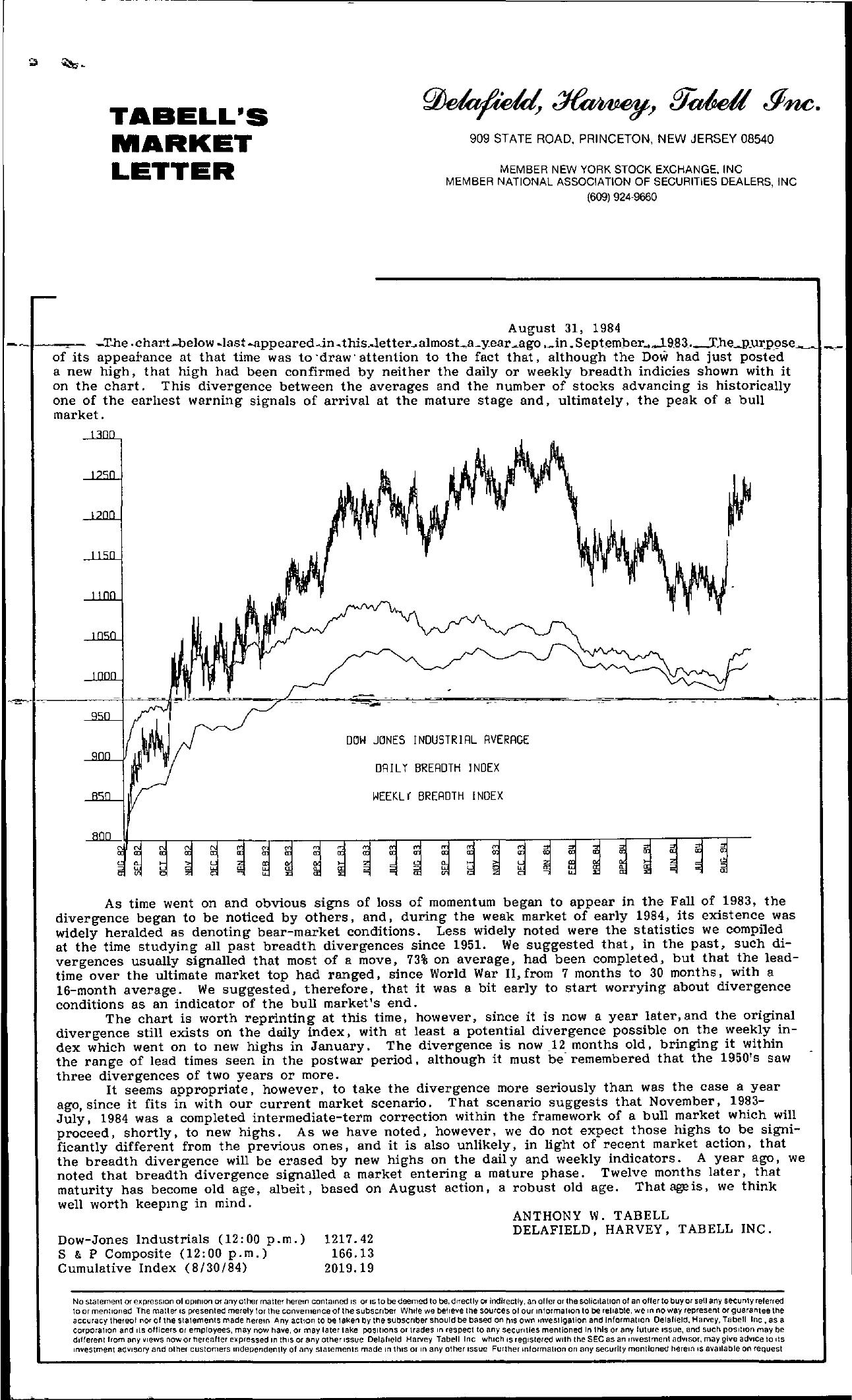 Tabell's Market Letter - August 31, 1984