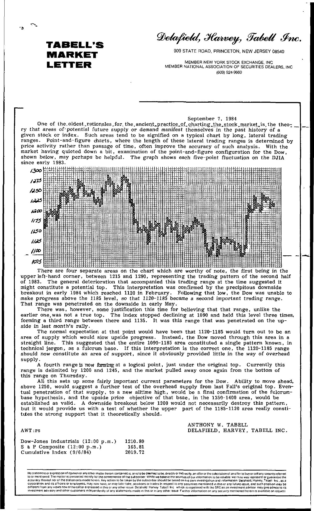 Tabell's Market Letter - September 07, 1984