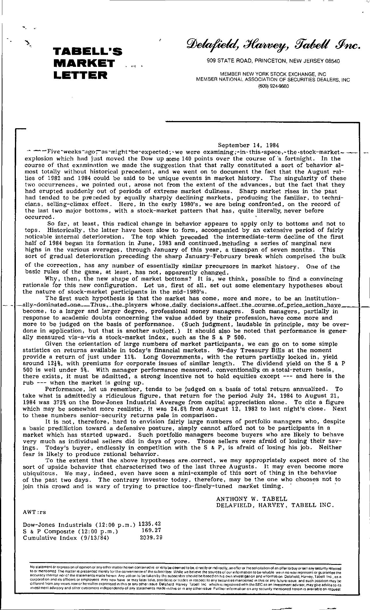 Tabell's Market Letter - September 14, 1984