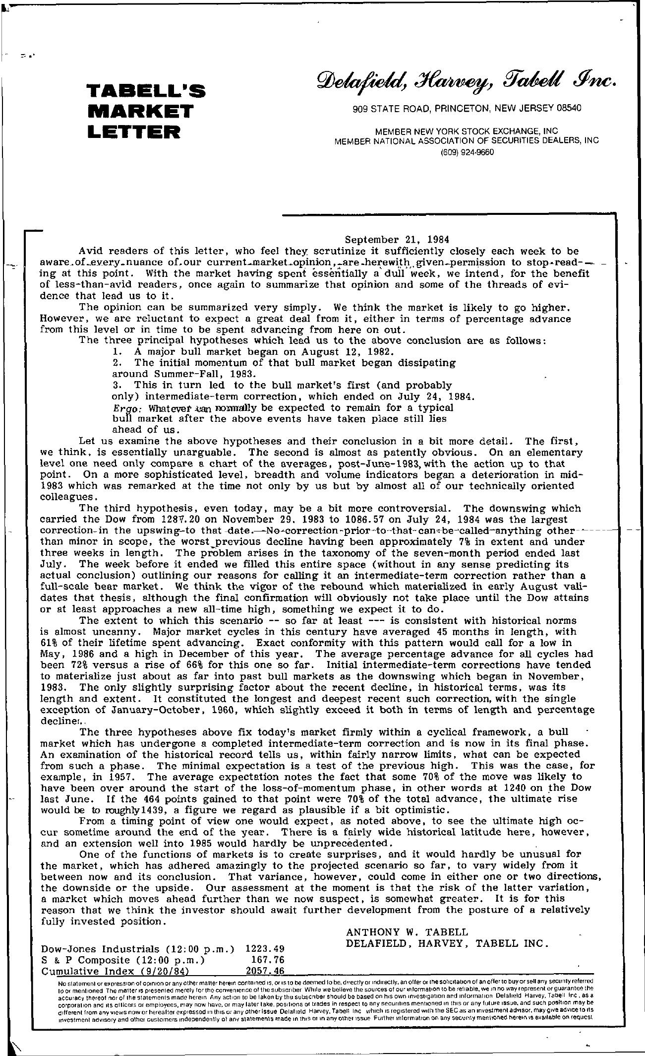 Tabell's Market Letter - September 21, 1984