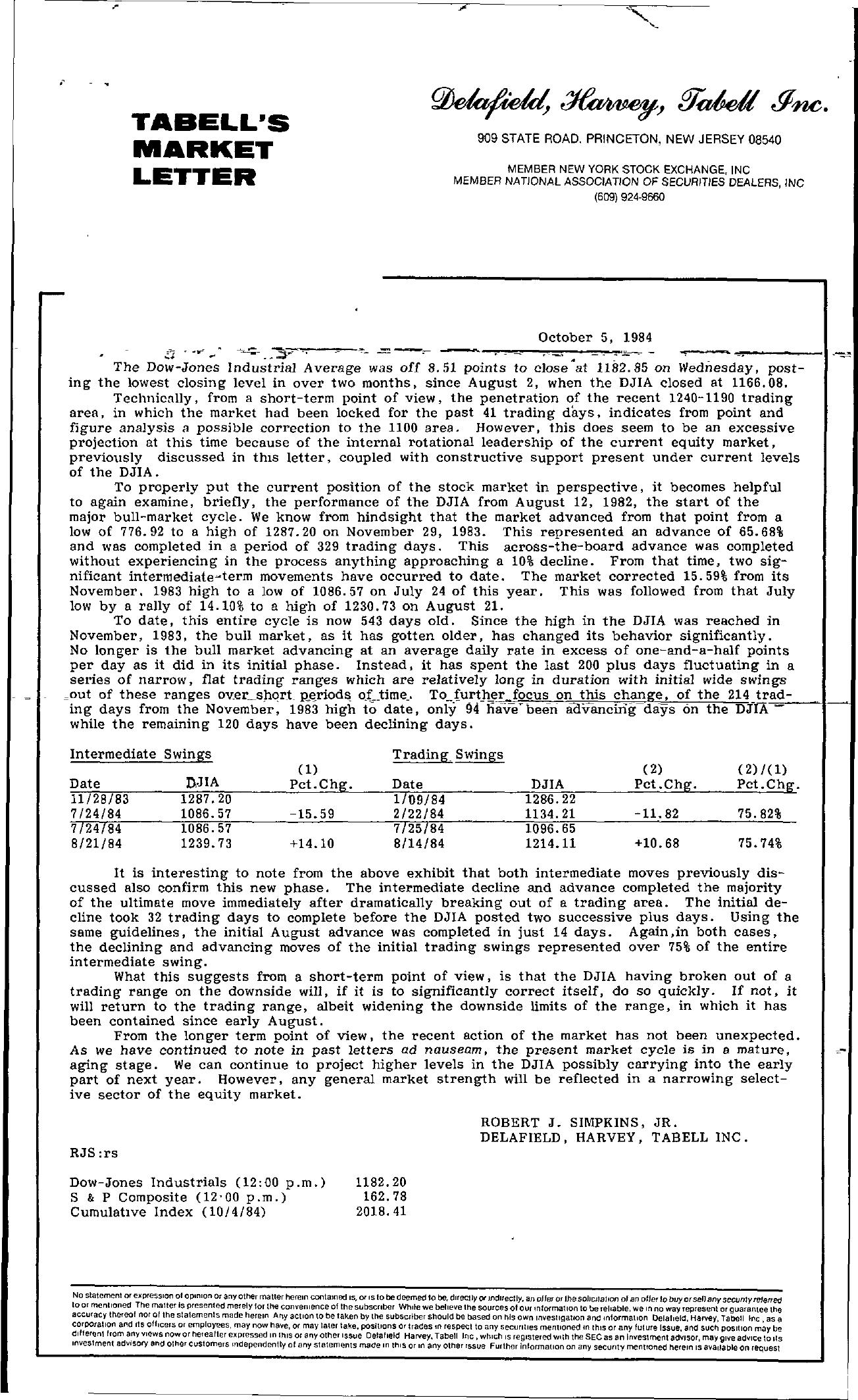 Tabell's Market Letter - October 05, 1984